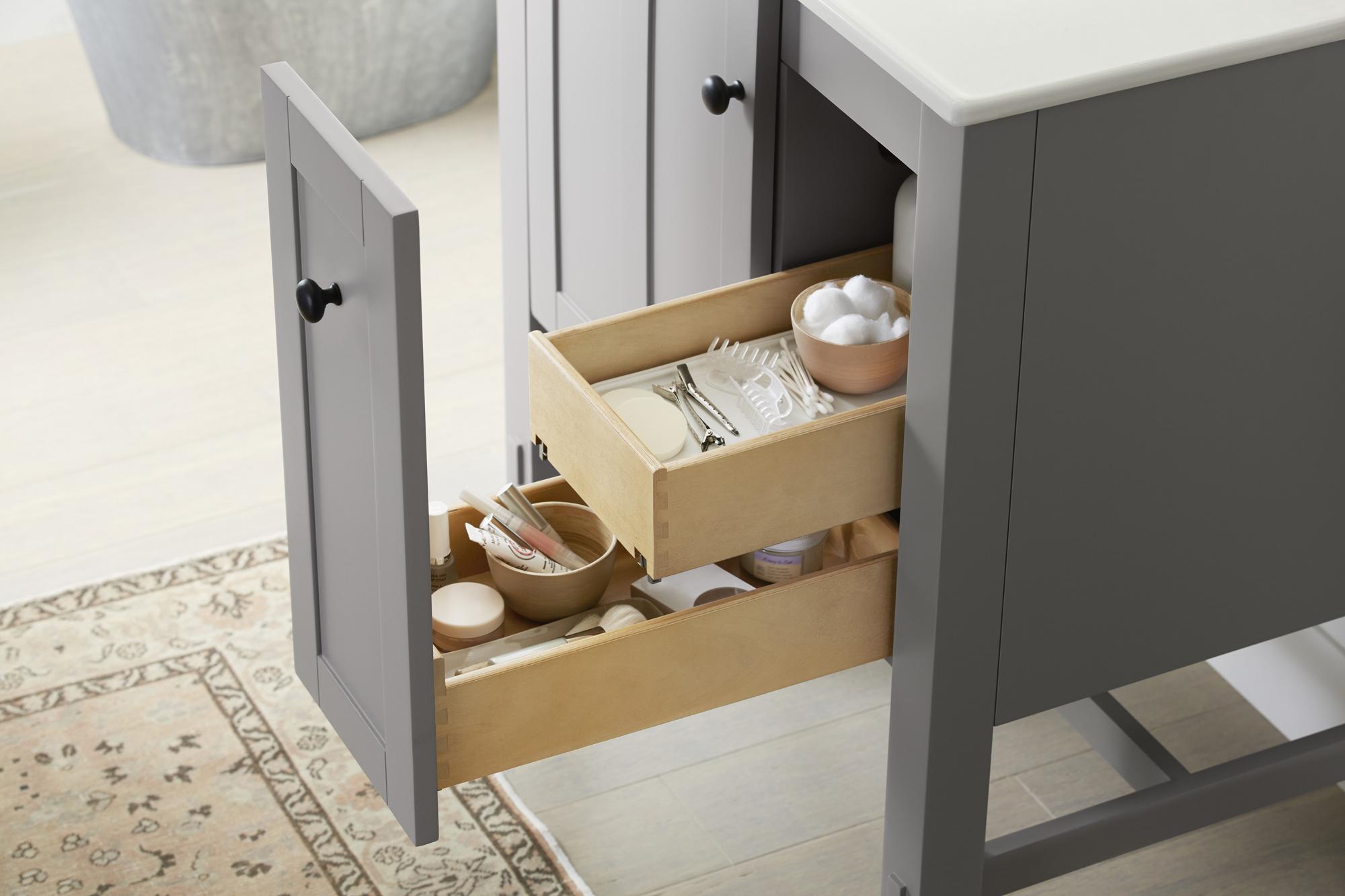 Tresham® vanity    Split drawers help streamline your morning routine.