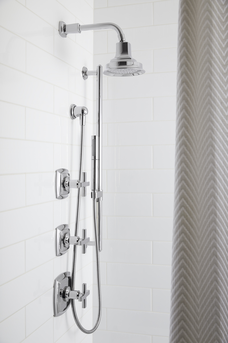 Margaux® showerhead    Margaux® valve trim    Margaux® bath spout    Shift Handshower    Guests can enjoy the versatility of a showerhead and handshower combination that also conserves water without ever compromising performance.