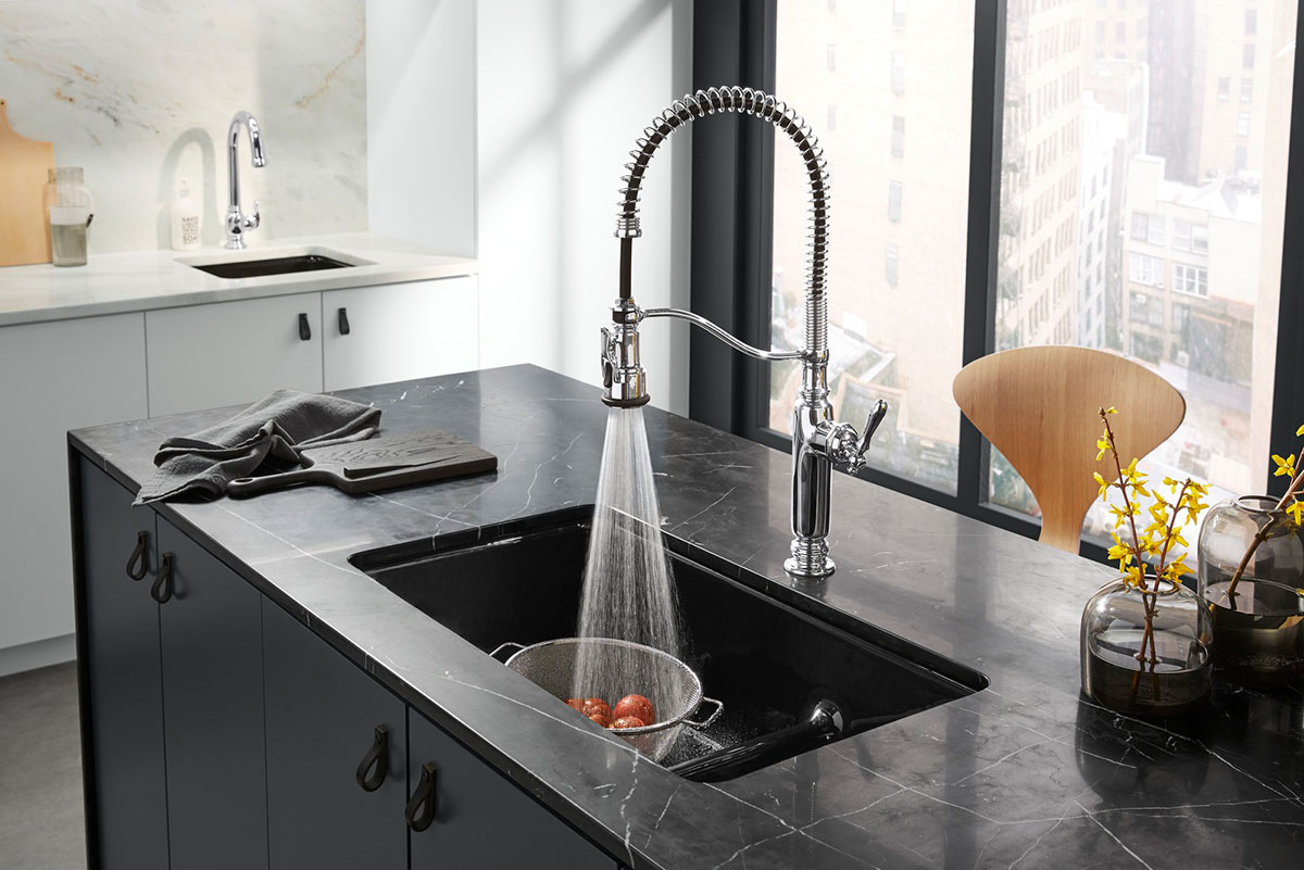 Tournant Faucet    Iron/Tones Sink    Beckon Faucet    ANN SACKS Nero Marquina Slab   The Tournant three-function faucet with pull-down sprayhead makes tasking, prepping and cleaning a dream for cooking enthusiasts.