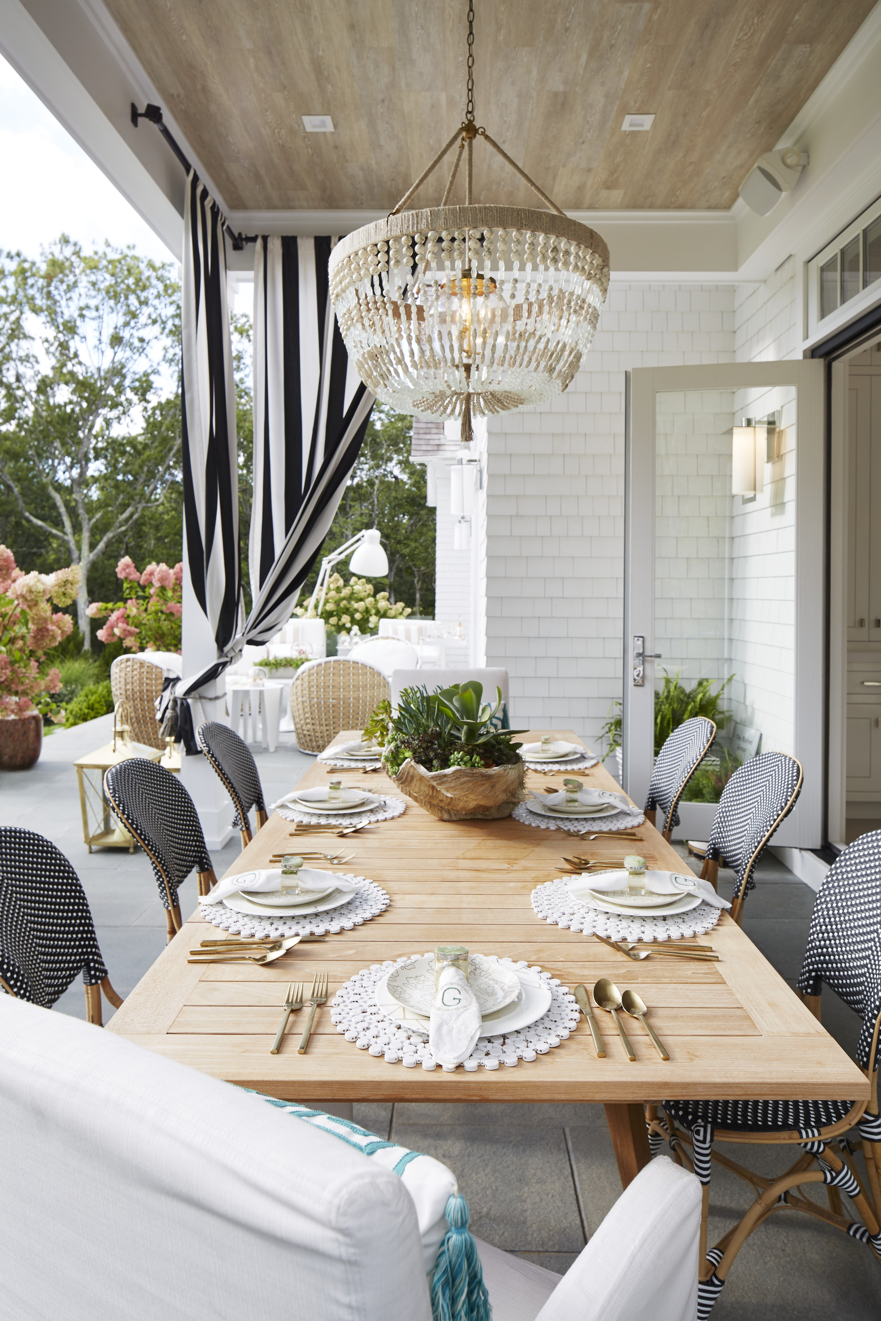 Blurring the lines between in-and outdoor living spaces, the kitchen and breakfast area open to a patio that's perfect for dining al fresco in the summer and fall.
