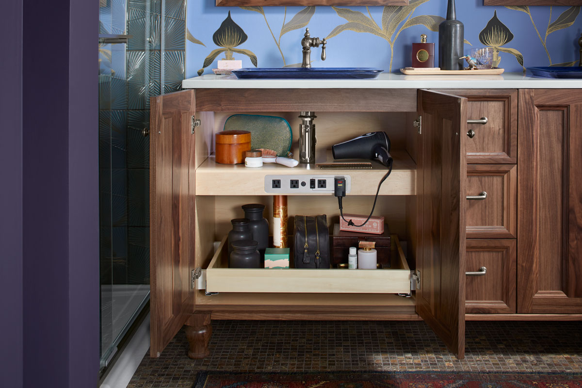 Damask Tailored Vanity    Adjustable Shelf with Electrical Outlets    Roll-Out Tray    Roll-Out Drawer    A double vanity with roll-out shelves and built-in electrical outlets help keep this styling space conveniently organized for daily routines.