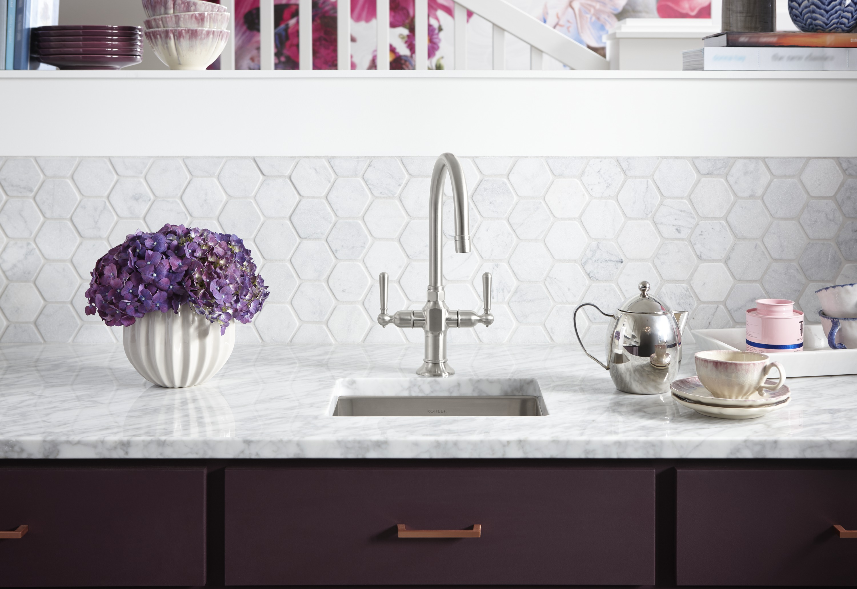 HiRise™ bar faucet     Vault™ under-mount bar sink     Matching bar and kitchen sink faucets let you coordinate your primary, prep and cooking areas.