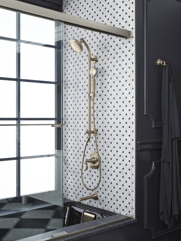 Artifacts handshower  and  showerhead   HydroRail shower column   Artifacts valve trim  and  spout   Tea-for-Two bath   A bath-shower combo saves space and gives you the best of both worlds, with spray and soak options.