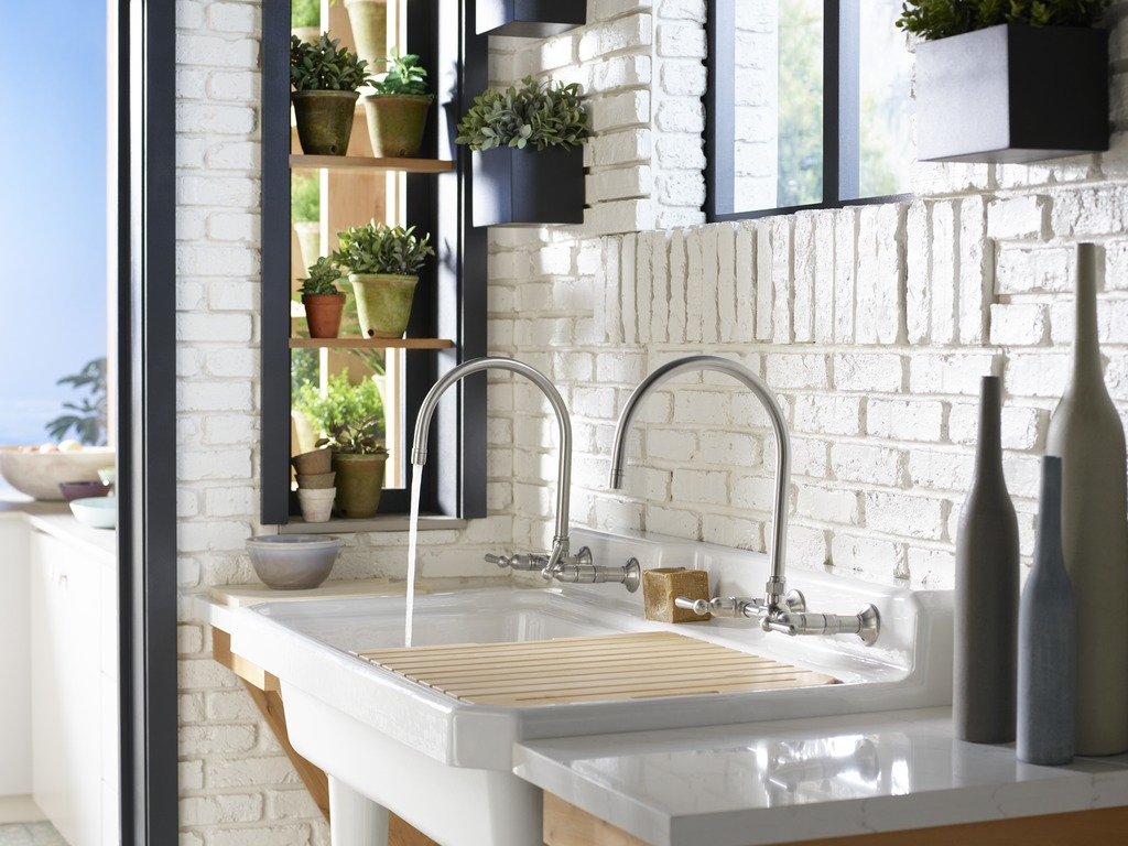 HiRise Wall-Mount Kitchen Sink Faucet     Harborview Utility Sink     Thoughtful design and timeless style come together in a utility sink that combines a wood grate sink rack for drying garden greens and graceful high-arching faucets for multitasking.