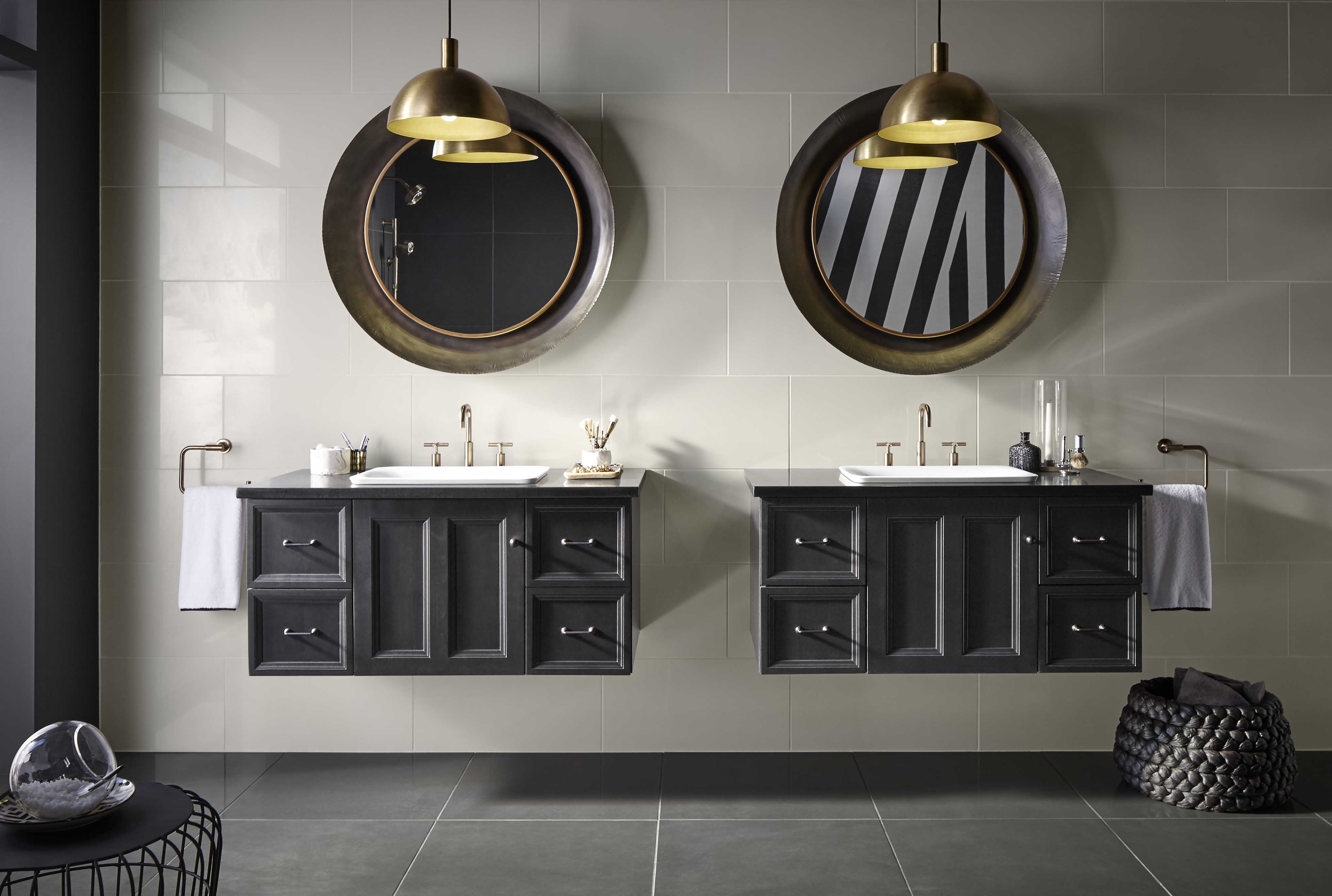 Damask® Vanity     Purist Faucet     Traditional wall-hung vanities can add vintage charm to modern bathroom settings.