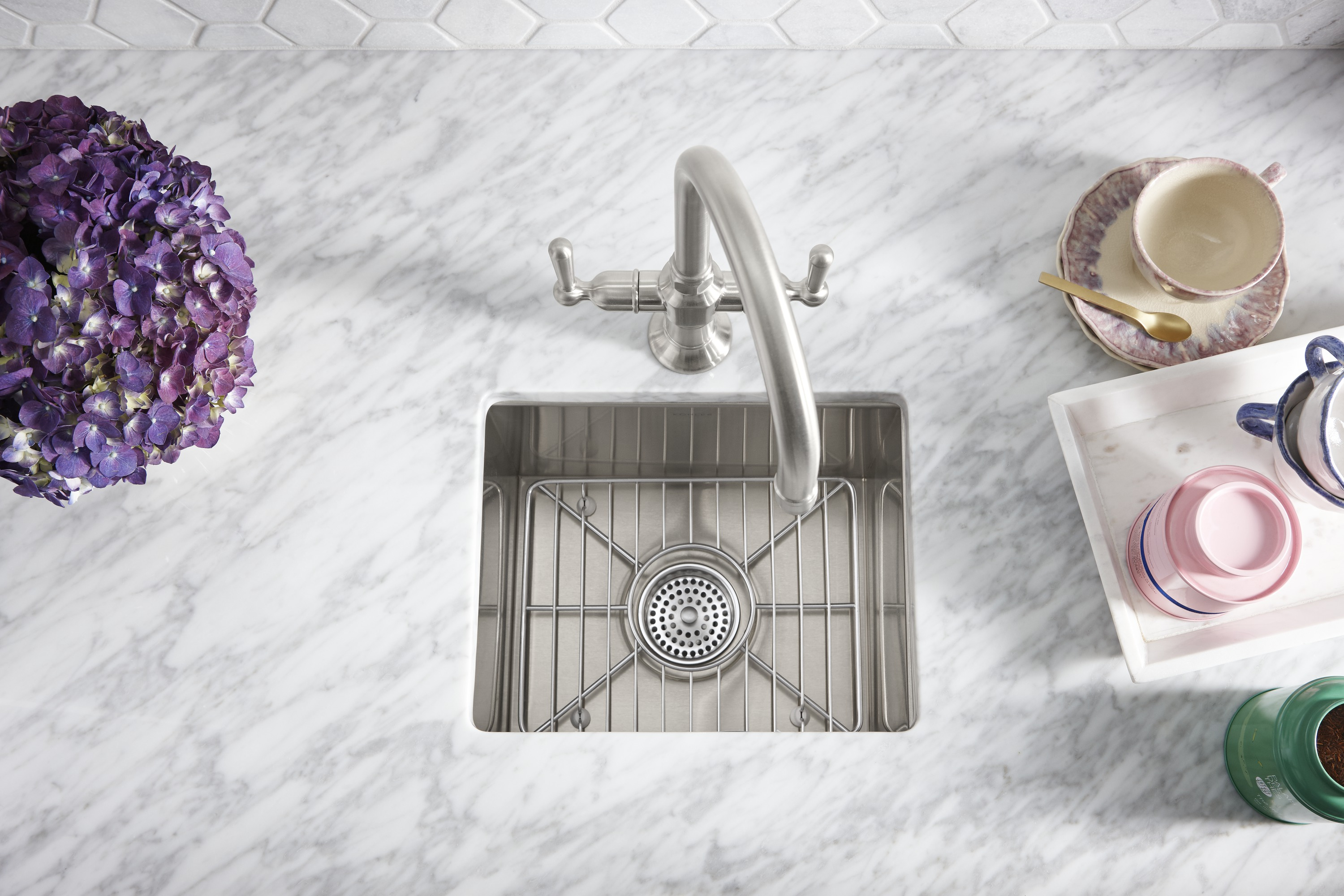 HiRise™ bar faucet     Vault™ under-mount bar sink     With a custom-fit rack, this bar sink is also perfect for rinsing fruits and vegetables.