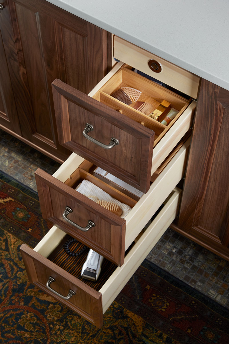 General Storage Package    Makeup Storage Package    Drawer Divider Package    Wooden drawer inserts give the styling space an extra boost of convenience and organization so smaller items are easy to find.