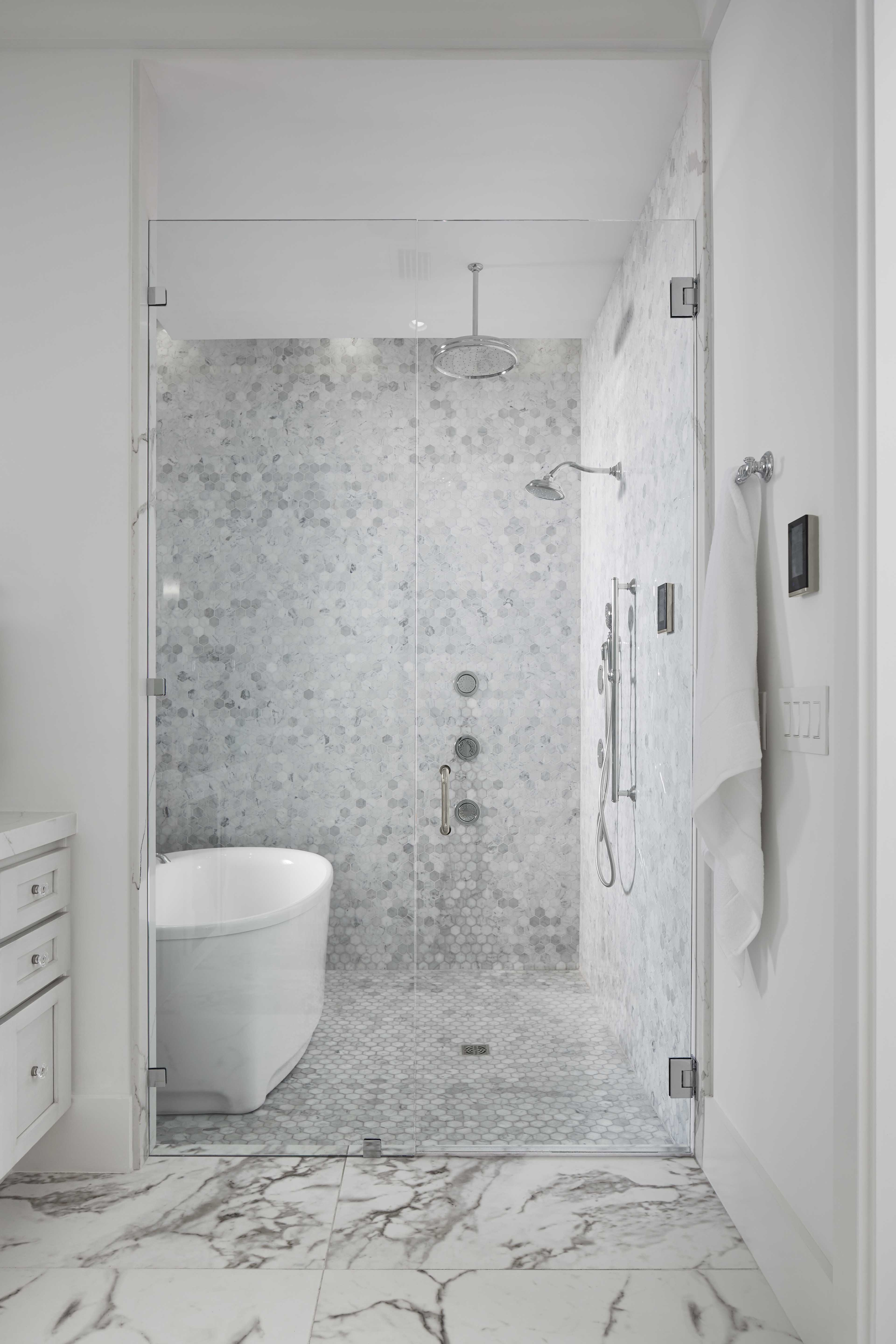 Underscore Freestanding Vibracoustic Bath     WaterTile Bodyspray     Traditional Rainhead     DTV+     Artifacts® showerhead     A growing trend in bathroom design, the master bath features a designated wet space that combines both the bathtub and shower in one enclosed area.