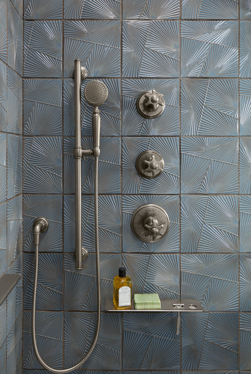 Artifacts Handshower    Artifacts Thermostatic Trim    Artifacts Volume-Control Trim    ANN SACKS Tableau Field Tile    A thermostatic valve behind the wall lets you set your preferred water temperature just once — so you can control the volume of your showerhead and handshower separately.