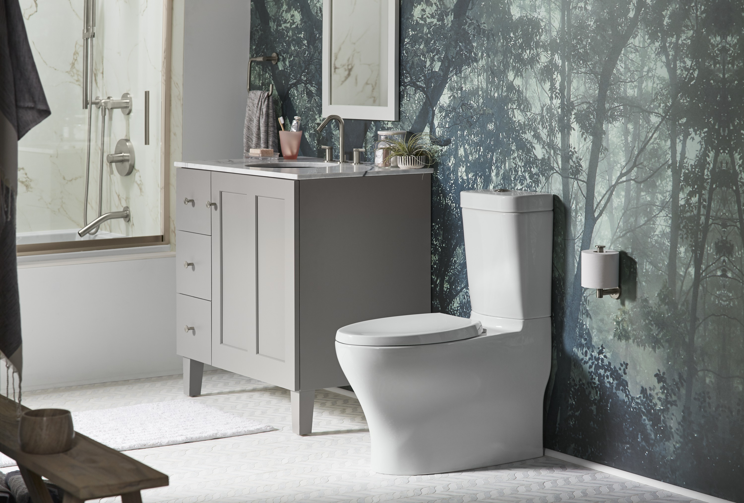 Persuade® Circ toilet     Reveal® toilet seat     Stillness® toilet tissue holder     A toilet with clean, organic design lines pairs easily with a simple Shaker-style vanity.