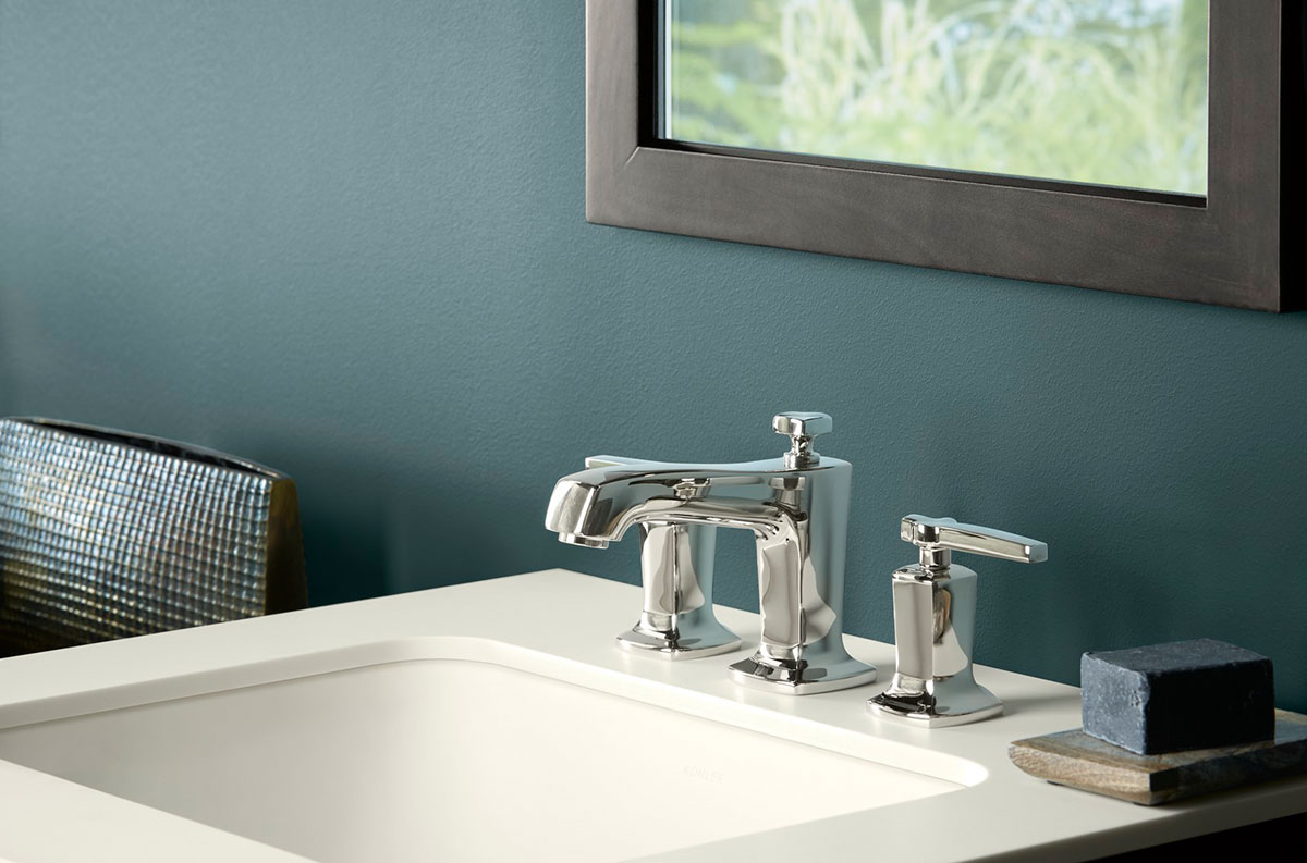 Margaux Faucet    Caxton Sink    Solid/Expressions Vanity Top     The flared square base of the faucet spout and handles mimic the design of the sink basin creating a symmetrical flow of contemporary style.