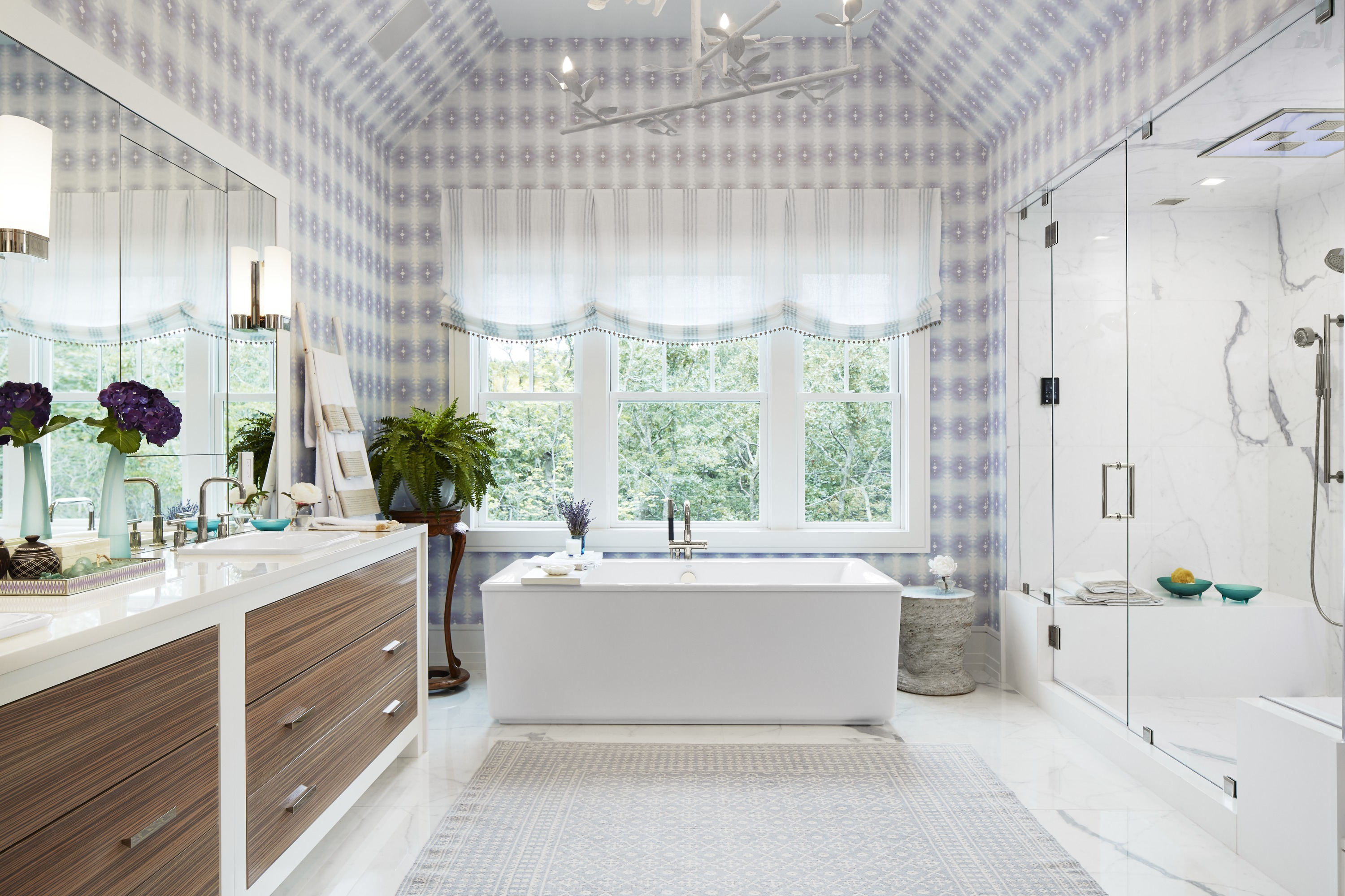 Purist Bath Filler     Stargaze Freestanding Bath     Purist Faucet     Sartorial Herringbone  Sink     Liliane Hart's master bathroom embraces traditional design but in a very 21st-century style. Updated gingham wallcoverings evoke the familiar while advanced technologies bring contemporary personalization.