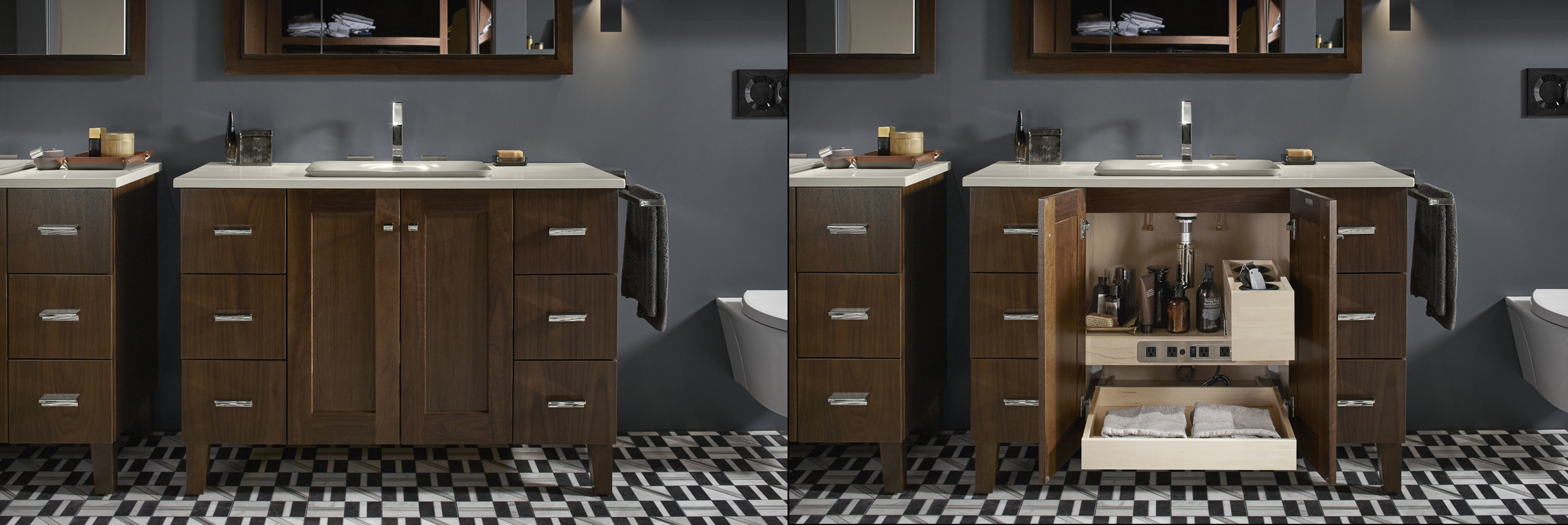 Poplin® vanity   Loure® faucet       Blending modern style with the simple Shaker-style detail of the vanities adds a touch of warmth while pullout shelves and built-in electrical plugs make using hair dryers and other essentials easy.