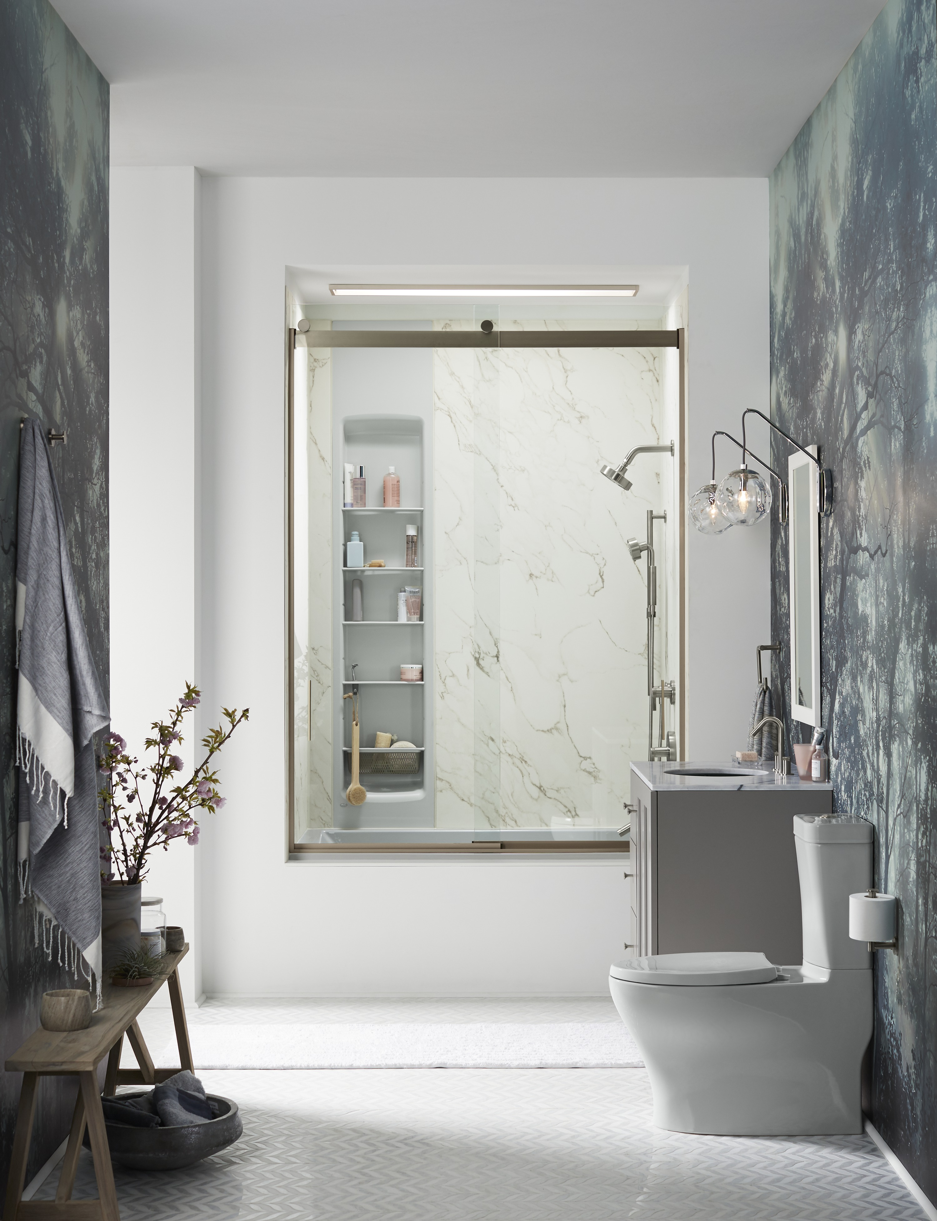 Choreograph® shower walls     Choreograph Shower Locker® storage     Shampoos,  soaps, loofahs and razors are easy to find and grab with built-in shower storage.