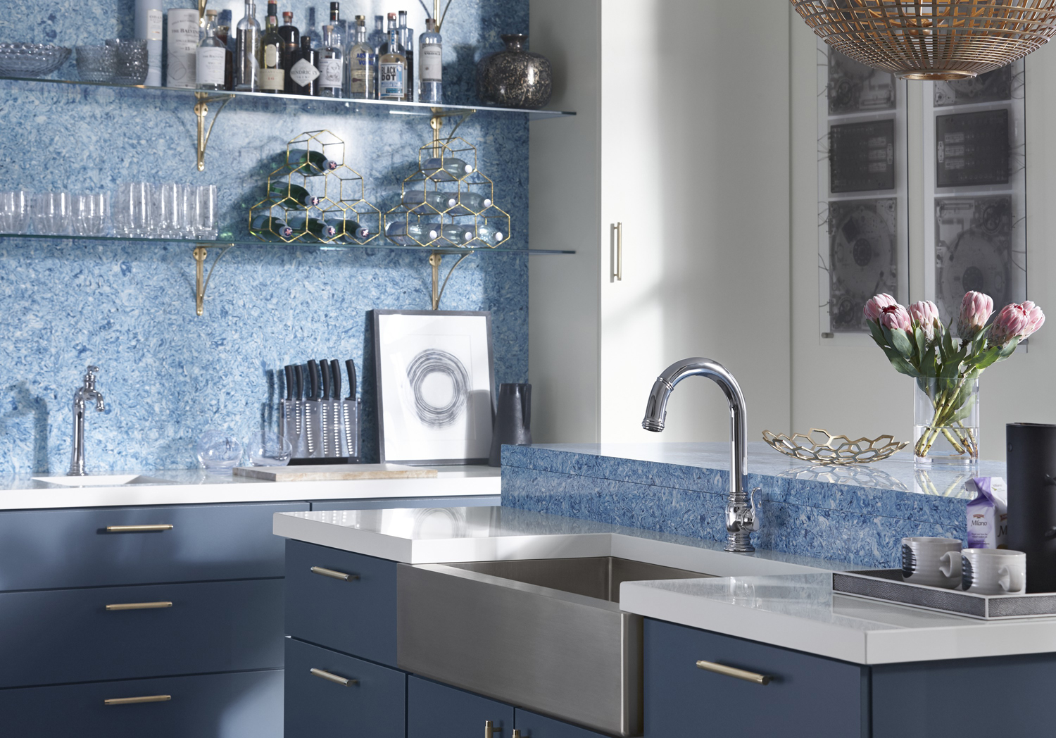 Strive® farmhouse kitchen sink     Beckon® touchless kitchen faucet     Artifacts® Gentleman's bar faucet     White Zeus Extreme countertop     Albedo wall and breakfast counter     Consider two sinks that coordinate without being identical matches. A full sink provides ample space for washing dishes while a prep sink is perfect for smaller tasks or bringing the whole family into the meal prep process.