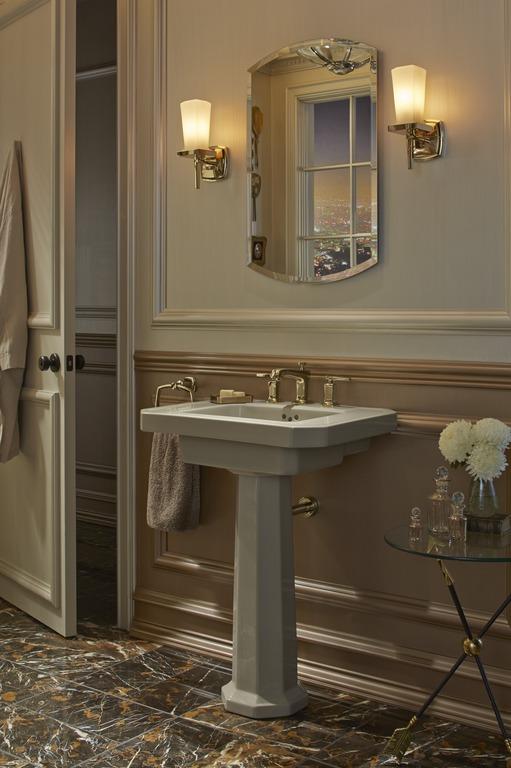 Margaux wall sconces   Margaux faucet   Kathryn pedestal sink   Margaux towel ring