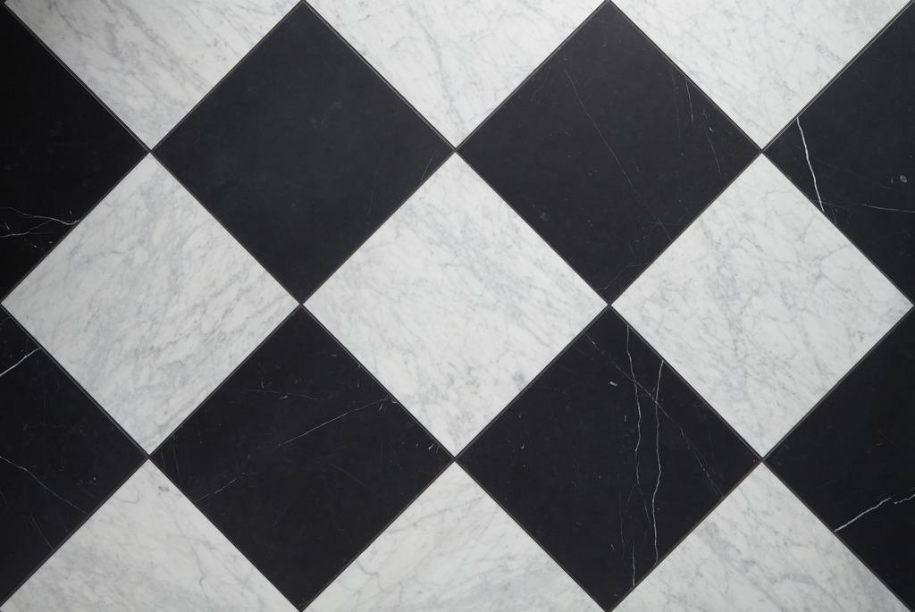 Ann Sacks Nero Marquina and Carrara tile