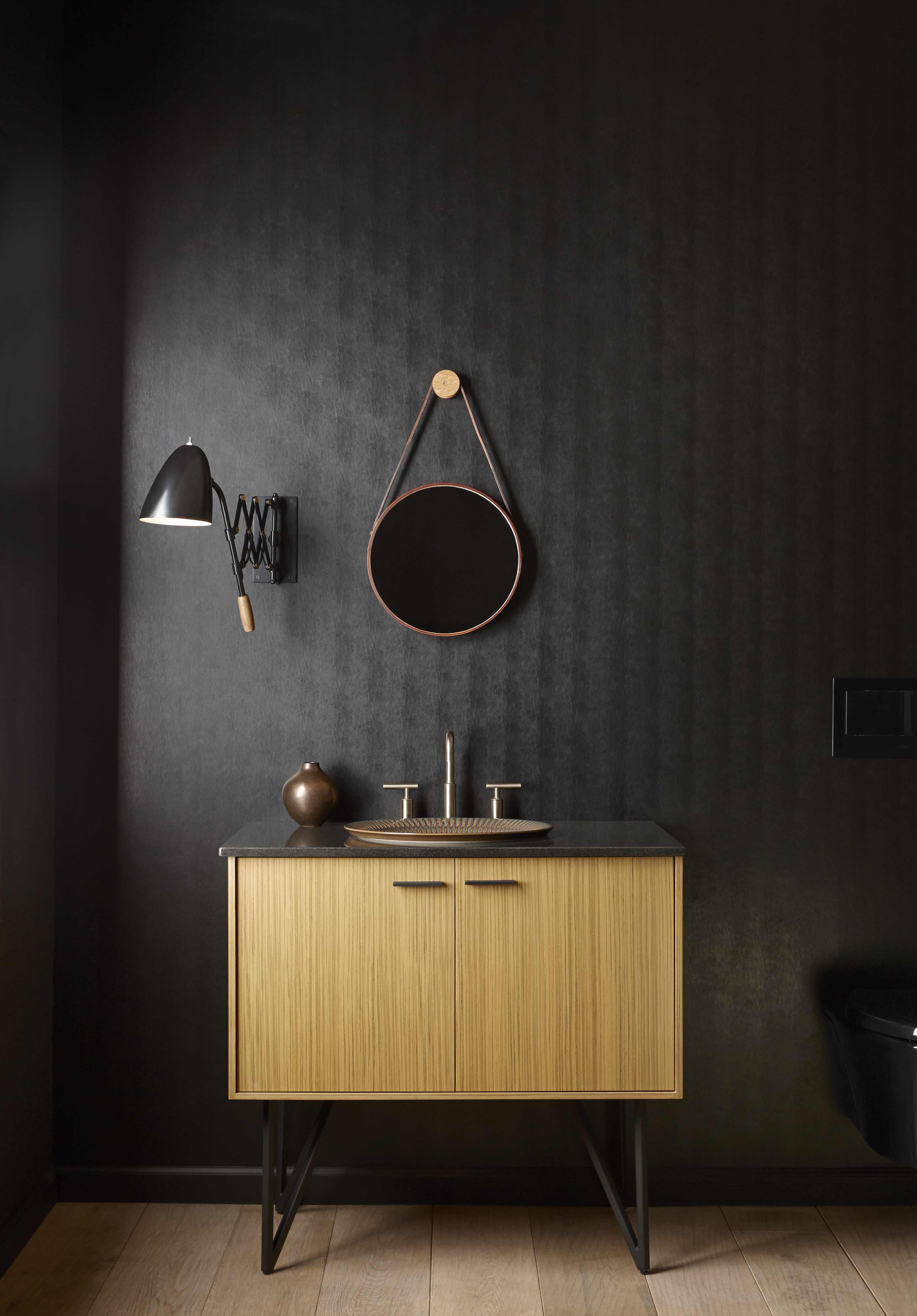Jute® Vanity     Jute legs     Purist Faucet     A traditional two-tone wallpaper pattern pairs nicely with the contemporary style of this vanity.