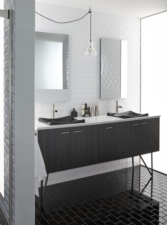 Verdera medicine cabinets   Toobi faucets   DemiLav sinks   Jute vanity   Adding a few curves, like the upturned sink edges, helps soften a thoroughly modern space.
