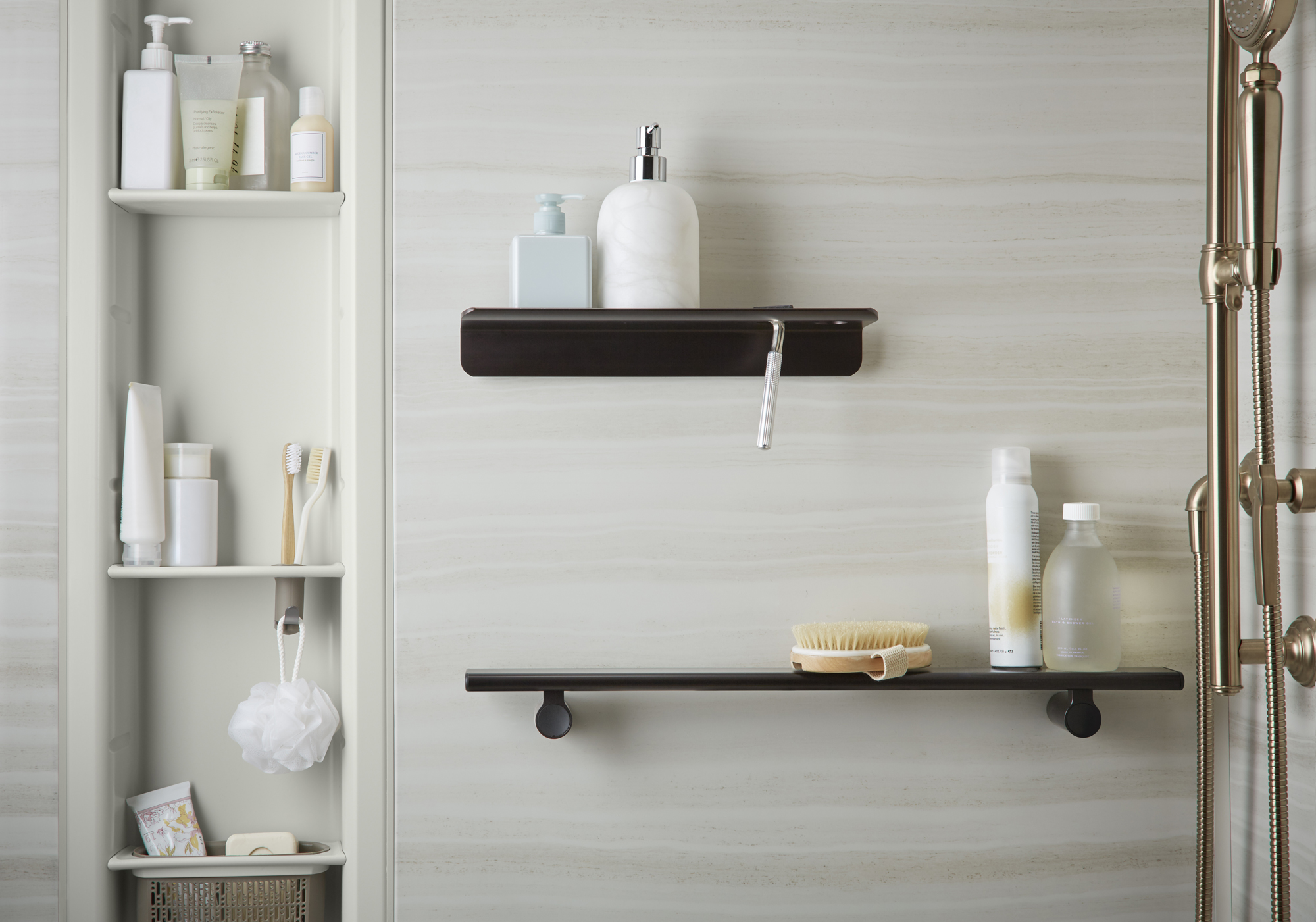 Choreograph® shower walls     Choreograph shower shelf     Choreograph shower barre     Choreograph Shower Locker®    A customizable shower solution lets you mix and match storage to fit your family's needs.