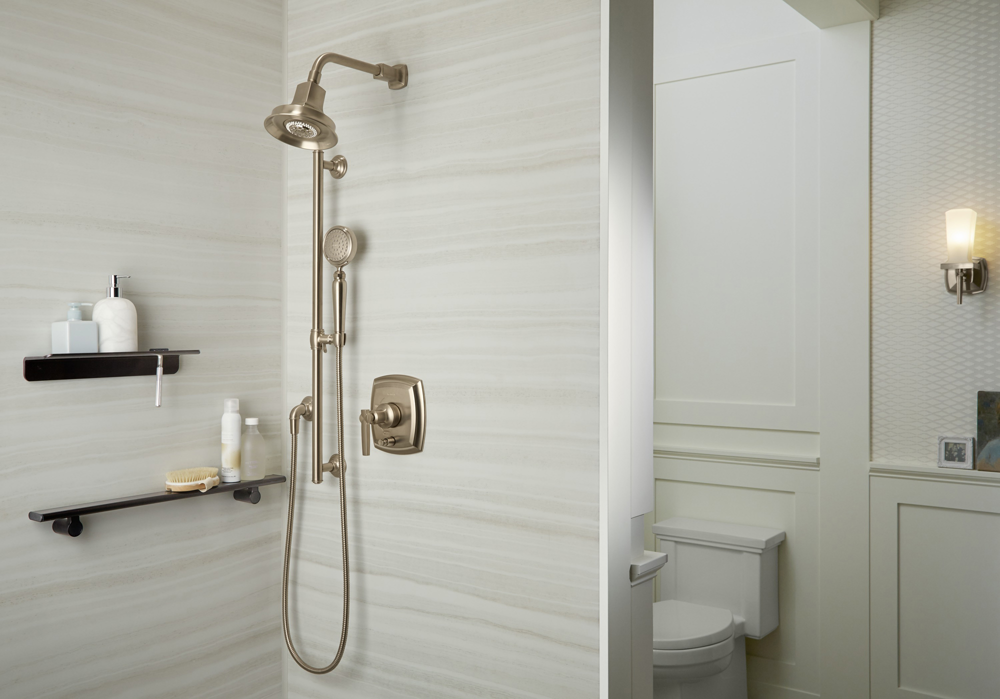Artifacts® shower slidebar     Artifacts handshower     Margaux® showerhead     Margaux valve trim     If some family members are quite a bit taller than others, a handshower with a slidebar is a simple solution.