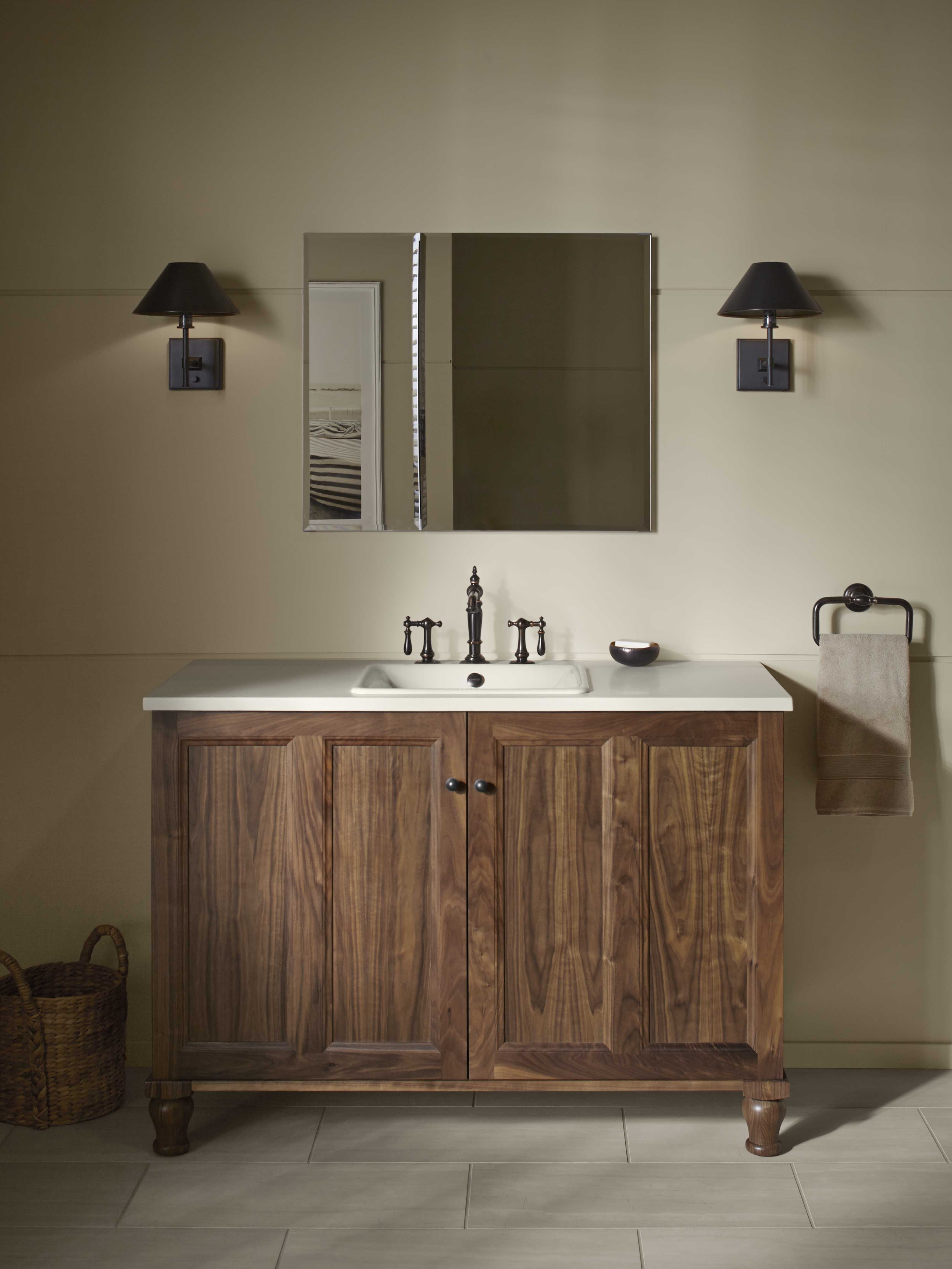 Damask® Vanity     Caravan® Persia Sink     Marguax Faucet     Vanities are offered in a wide variety of configurations. Absent a linen closet, choosing a vanity with an oversized drawer is the next best thing for keeping fresh linens close at hand.