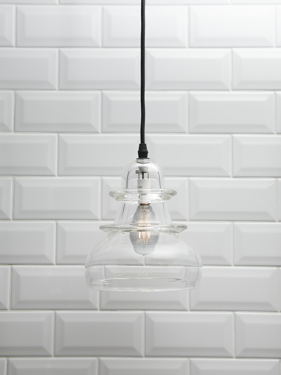 Ann Sacks Arden field tile   Simple yet fashion-forward lighting is perfect against white tile with just a hint of texture.