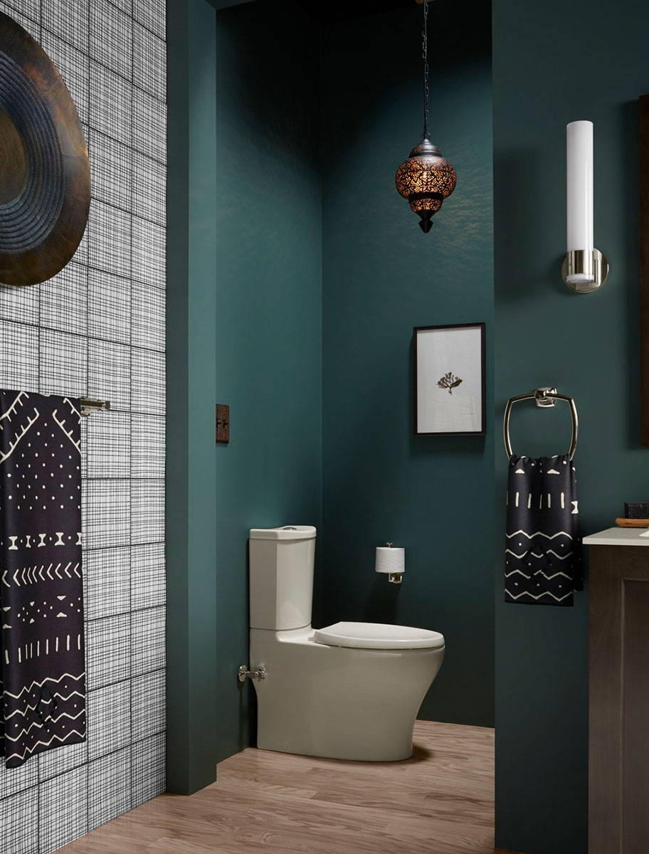 Persuade Toilet    Reveal Toilet Seat    Margaux Toilet Tissue Holder   Tucked out of sight, the toilet alcove offers additional privacy and a water-saving dual-flush toilet sporting a sleek design.