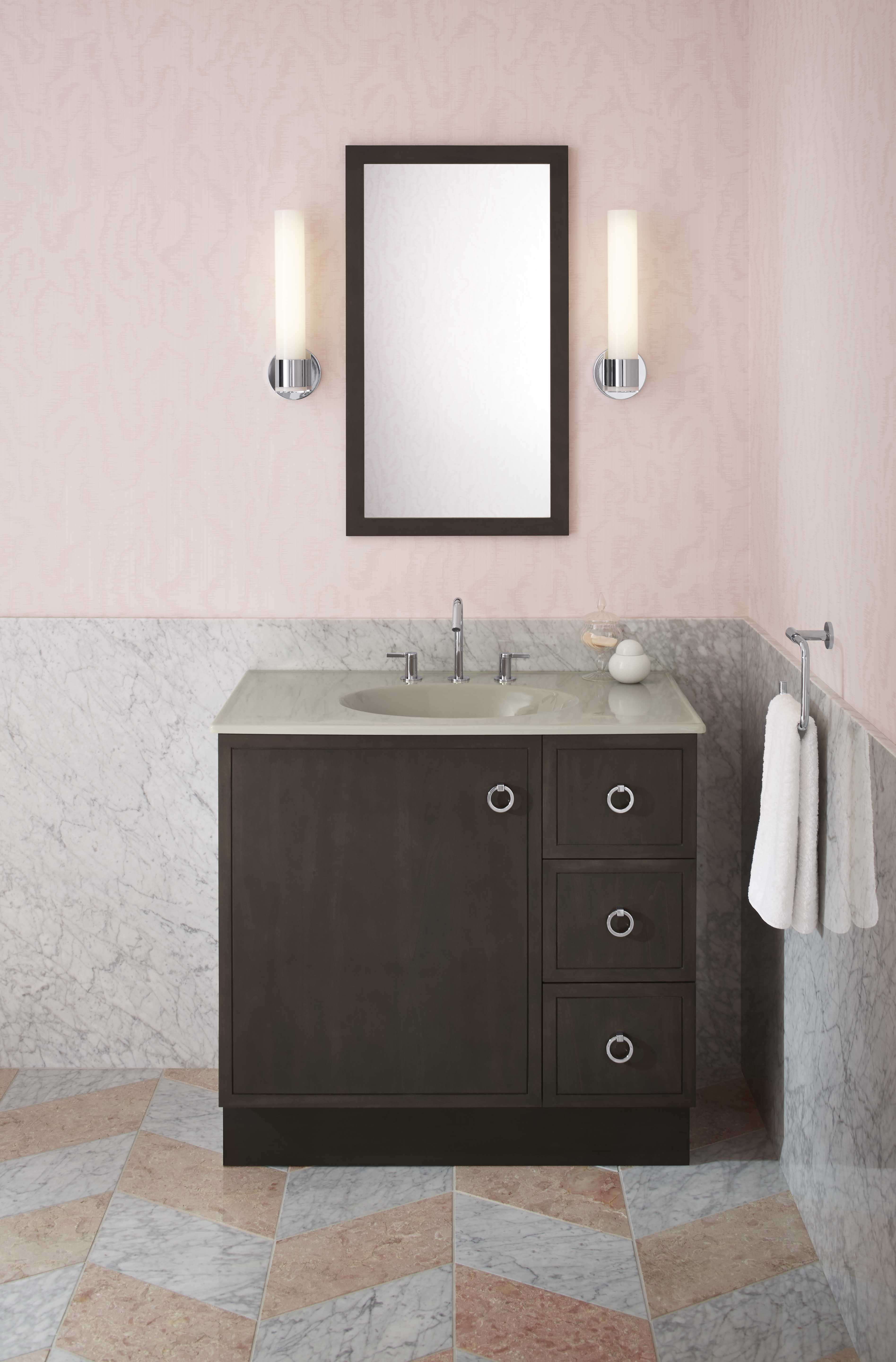 Jute® Vanity     Jacquard Mirror     Loure® Faucet     Matching the color of the vanity and mirror can provide a cohesive look.