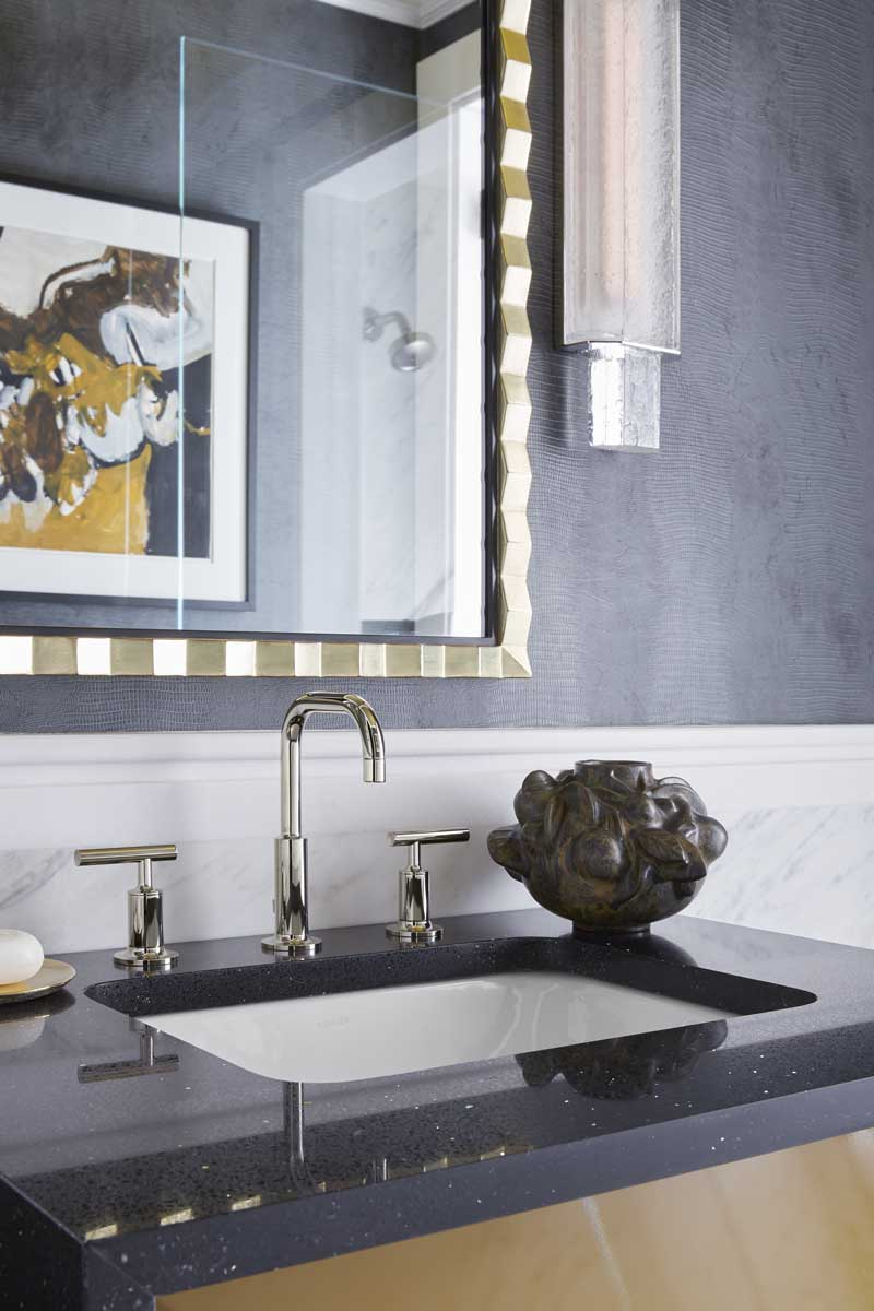 Purist Sink Faucet    Caxton Rectangle Sink   The ochre, gold and black tones create a bathroom that's as moody as it is elegant.