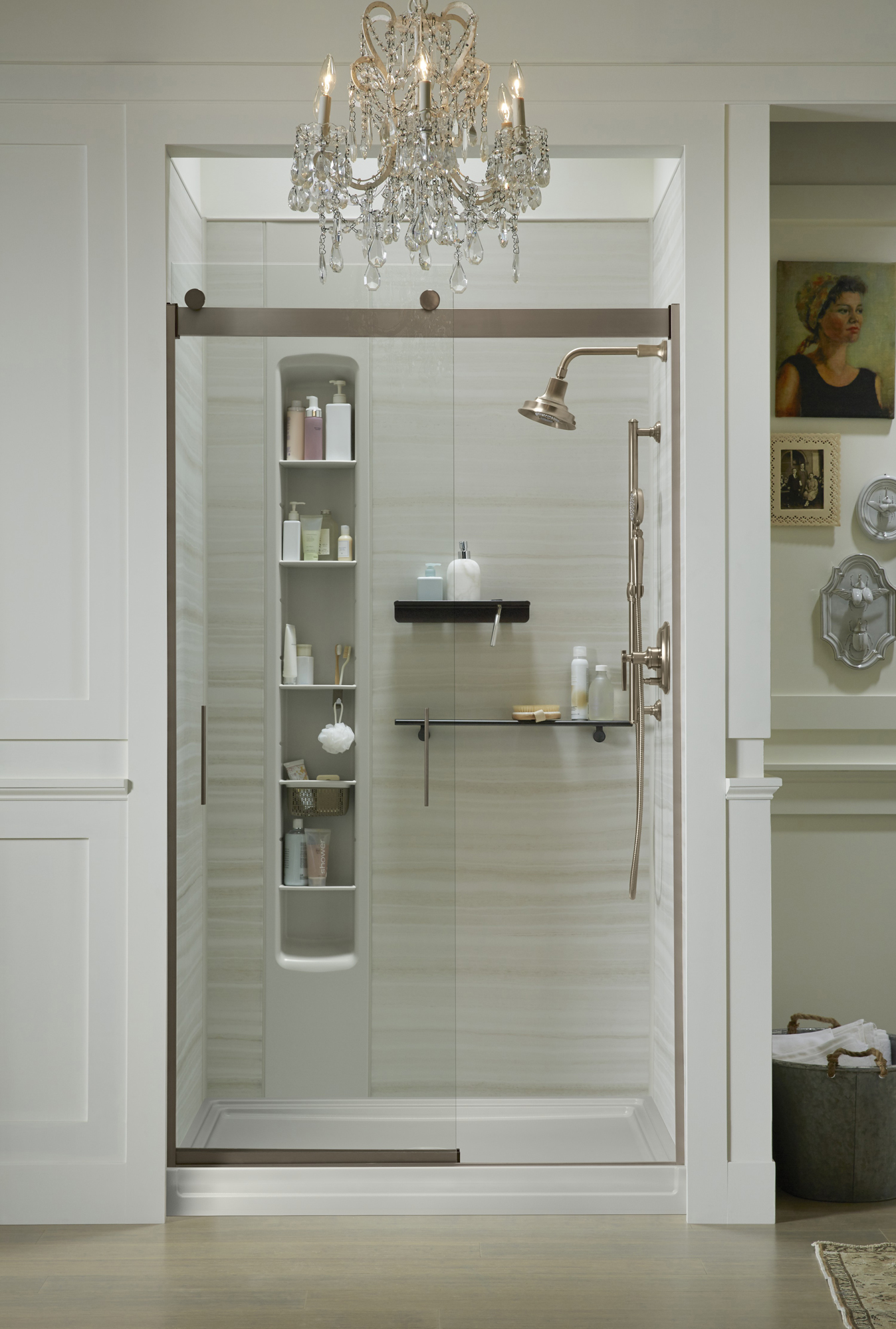 Choreograph® shower walls     Choreograph shower barre     Levity® shower door     Margaux® showerhead     Choreograph Shower Locker®    Designed to stay clutter-free, this shower features built-in storage with adjustable shelves, hooks and baskets.