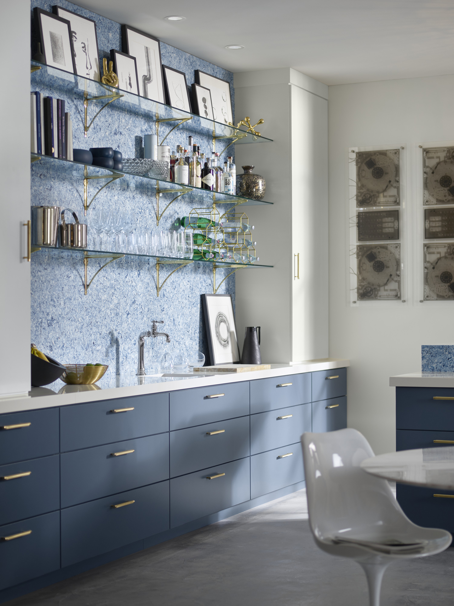 Strive® bar sink      Artifacts® Gentleman's bar faucet     White Zeus Extreme countertop     Albedo wall and breakfast counter     Open shelves can be all about functionality and easy access, plus they can act as a gallery wall, displaying your current favorites.