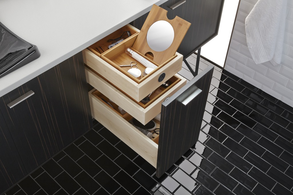 Jute vanity   A place for everything is a must for sleek, minimalist design to stay that way.