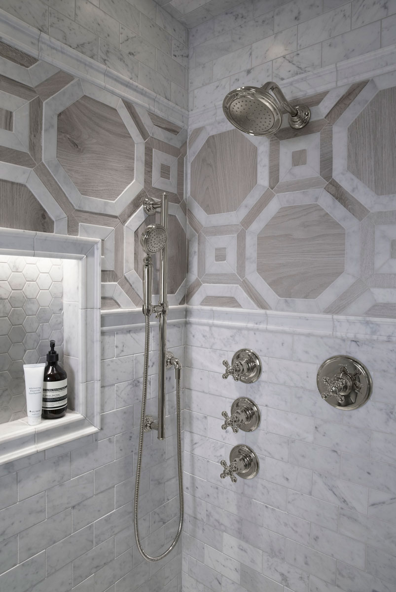 ANN SACKS Carrara Field Tile      Artifacts Showerhead    Artifacts Handshower    Artifacts Volume Control Trim    Artifacts Valve Trim    Mirroring the shapes of the bricks and the hexagonal pattern of the floor tile, the shower brings together three styles of Carrara tile to create visual interest and polish.