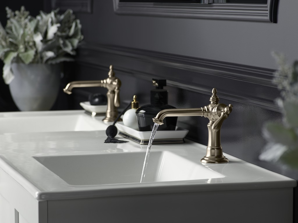 Artifacts faucets   Faucets with a column design keep the look classic, and not at all fussy.