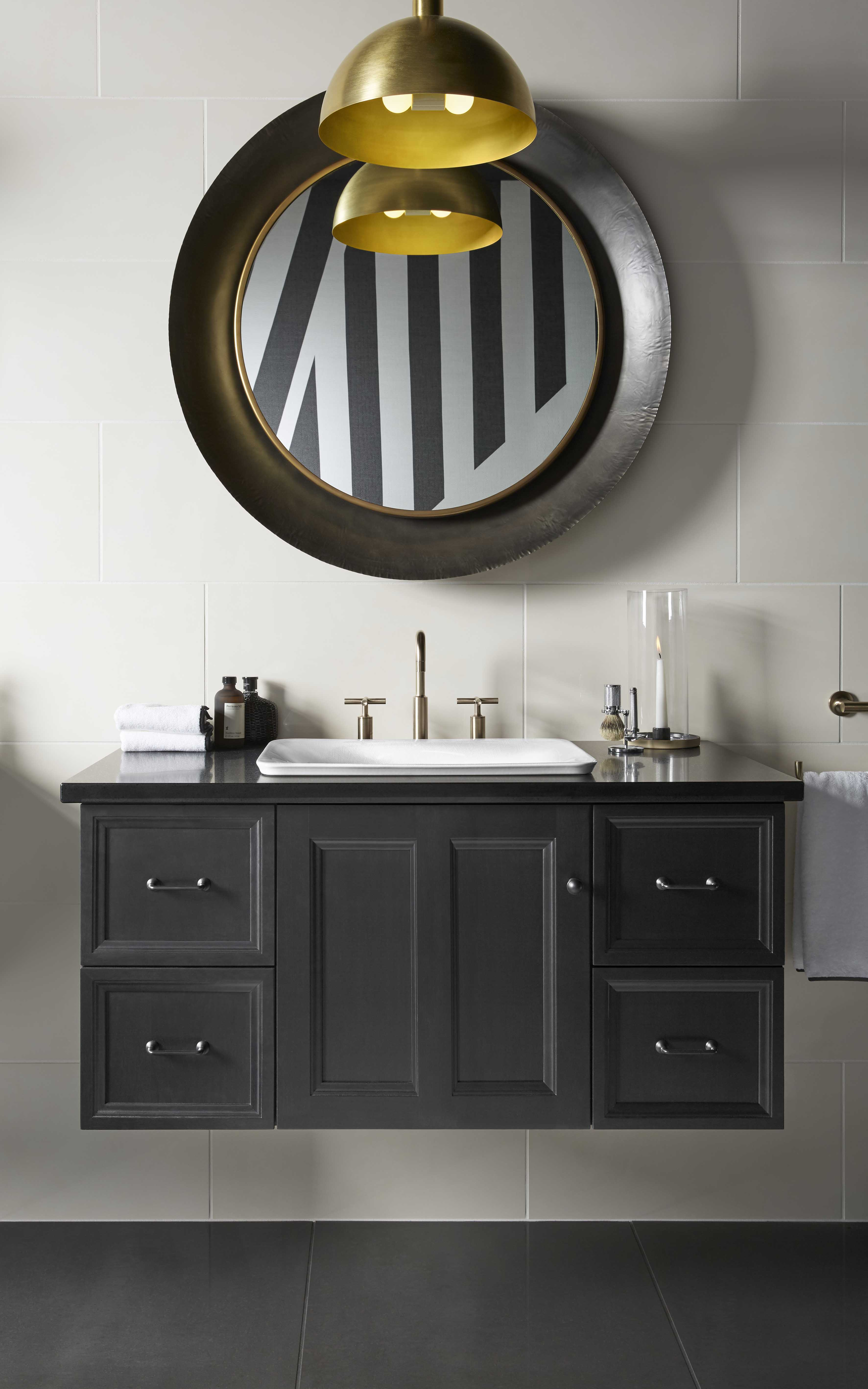 Damask® Vanity     Purist Faucet     A wide vanity paired with a smaller sink provides ample workspace and storage opportunities.