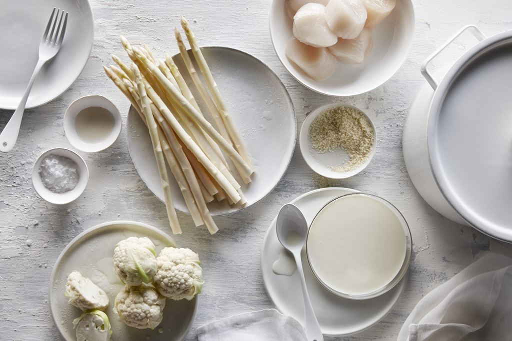 The delectable ingredients for a white-on-white entree.   Get the recipe.