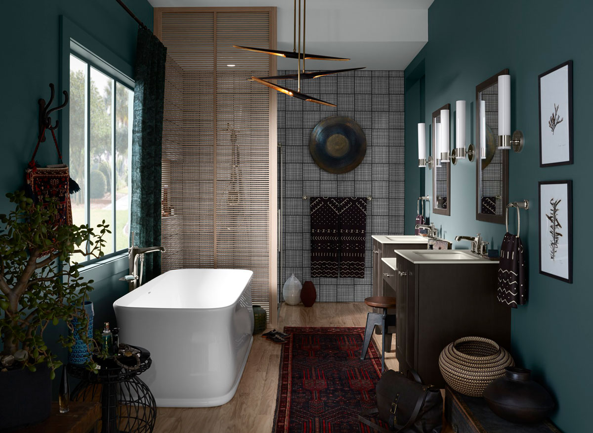 Imperator Freestanding Bath    Margaux Bath Filler    Poplin Vanity    Margaux Faucet    An eclectic mix of décor nods to design influences from across the globe—from textiles and basket weaving to pottery and wall art.