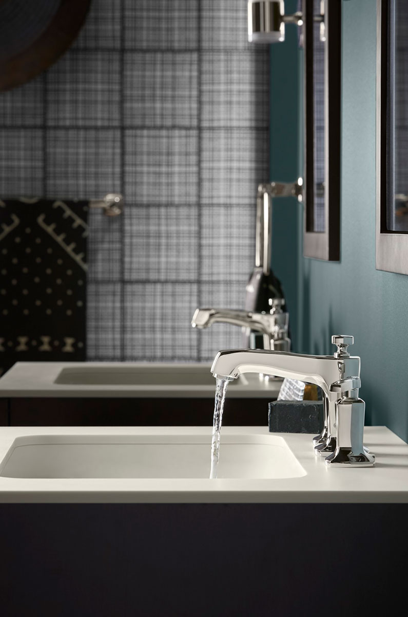 Poplin Vanity    Margaux Faucet    Caxton Sink    Solid/Expressions Vanity Top    Side-by-side vanities dual as stylish amenities that are equally as functional – and let couples connect during their daily routines.