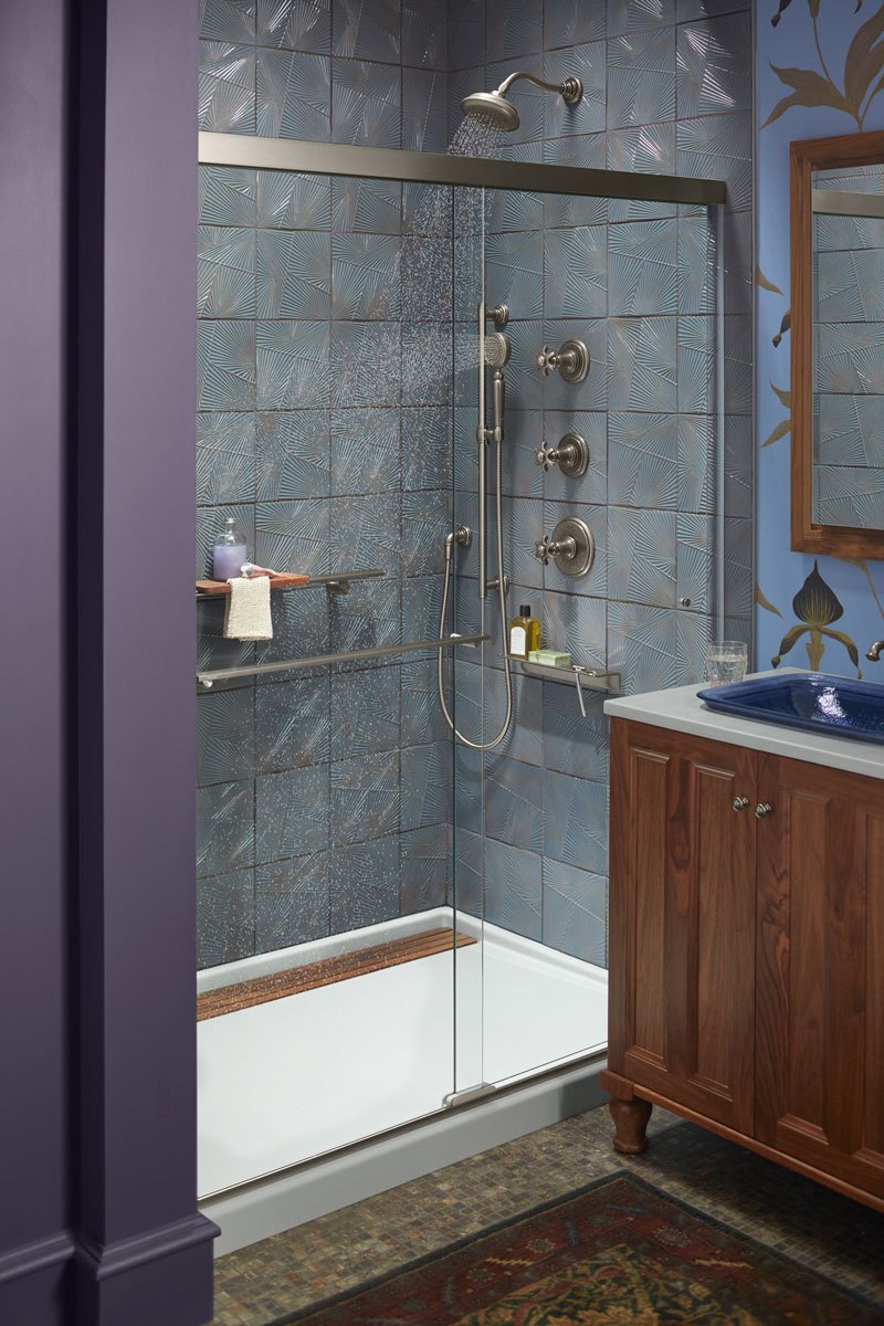 Artifacts Showerhead    Artifacts Handshower    Groove Shower Base    Revel Shower Door    Choreograph Shower Barre    When designing a shower to accommodate multiple users, consider including a shower barre for safety and an adjustable-height handshower for convenience.