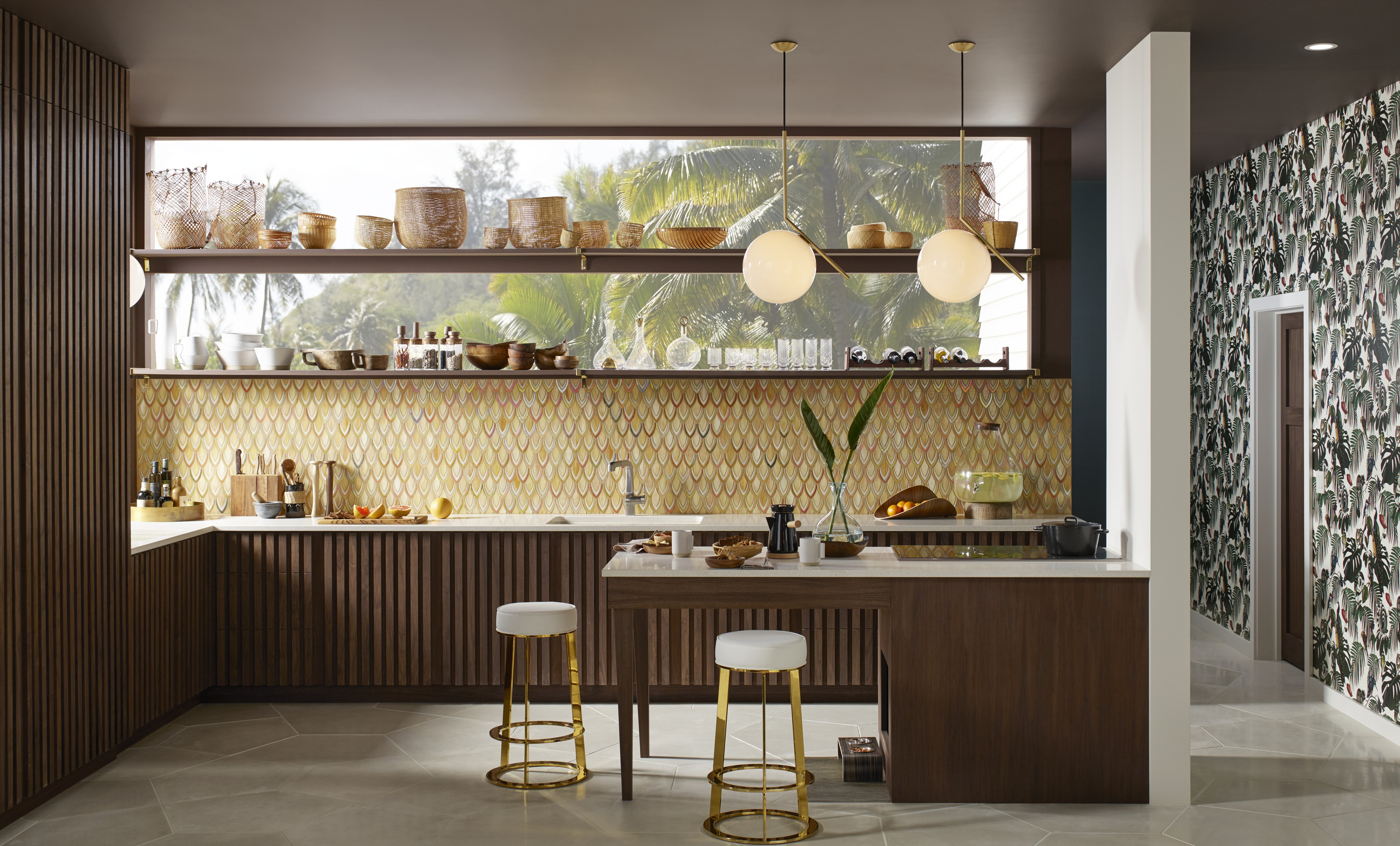 Evoke® pullout faucet     Riverby® under-mount sink     ANN SACKS® Chrysalis mosaic     ANN SACKS Ogassian tile     A colorful backsplash softens the dark vertical wood slats and geometric concrete floor.