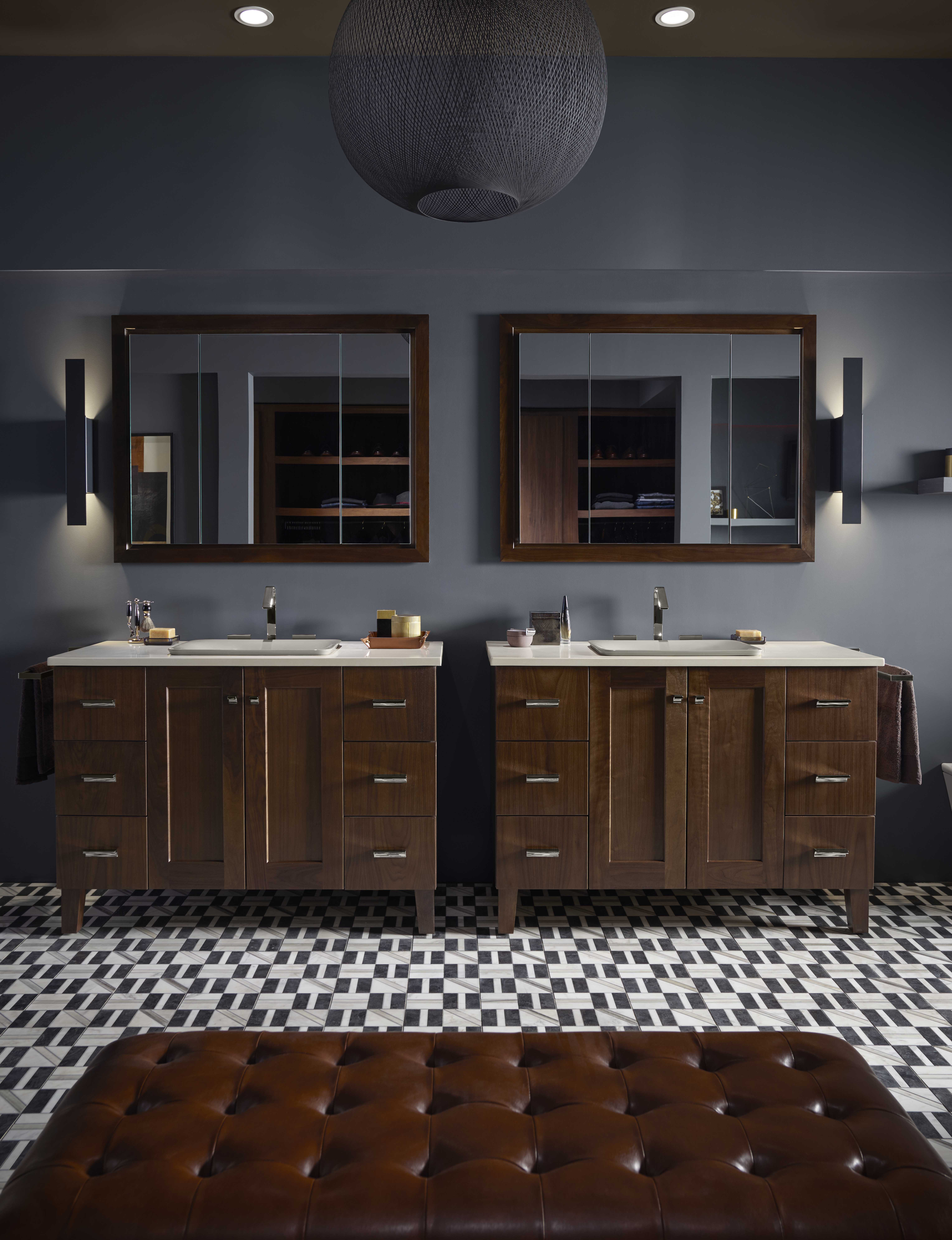 Poplin® Vanity     Poplin medicine cabinet surround     Verdera® medicine cabinet     Loure® faucet     Dual styling spaces allow couples to enjoy one another's company without getting in one another's way.