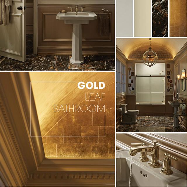 30 Best Bathroom Colors 2018: Gold Leaf Bathroom