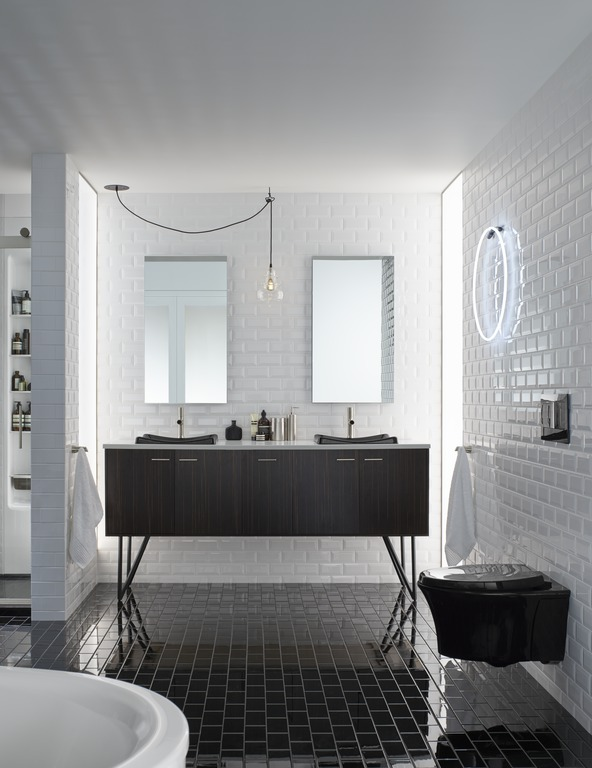 Verdera medicine cabinets   Toobi faucets   DemiLav sinks   Jute vanity   Veil toilet   A black-on-white color scheme is as modern as modern can be.