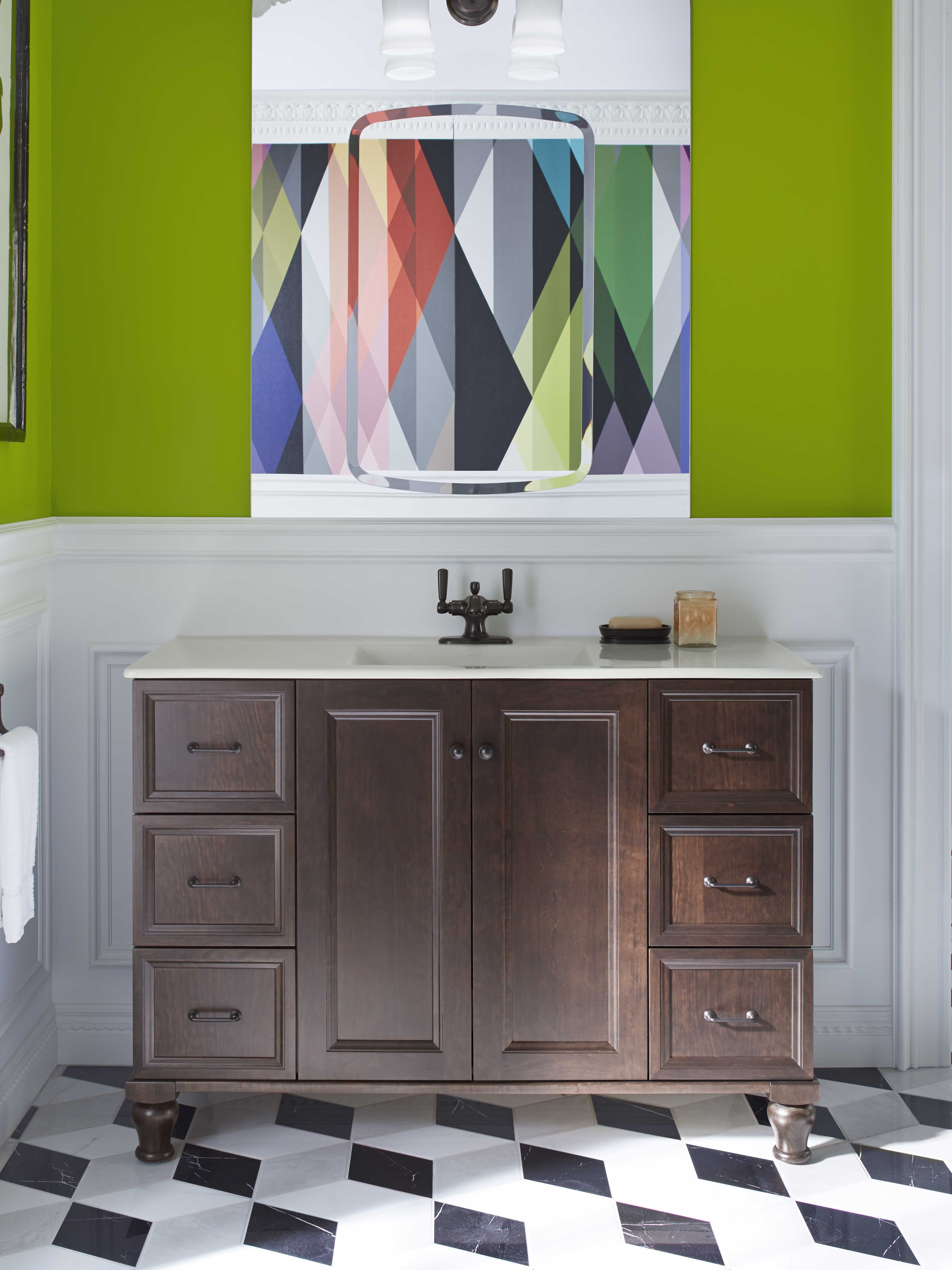 Damask® Vanity     Bancroft® medicine cabinet     Bancroft Faucet     Blending a dark wood vanity with playful patterns creates a compelling bathroom design.