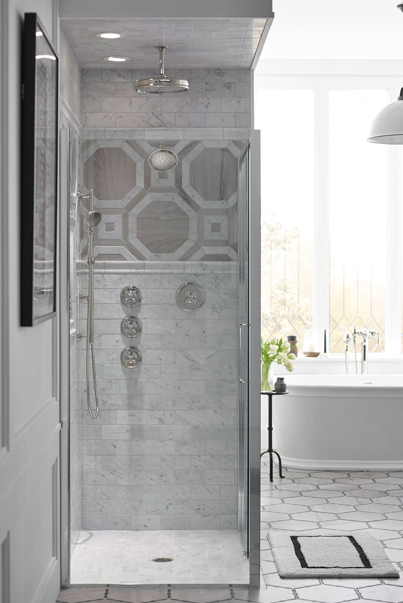 Traditional Round Rainhead    Artifacts Showerhead    Artifacts Handshower   Combined water components—rainhead, showerhead and hand shower—offer different spray experiences to soothe or energize.