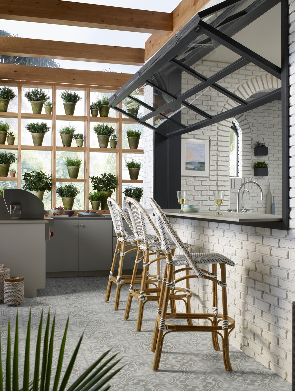 Dekton Aldem outdoor bar     Mysterious AF-565     Step inside a garden greenhouse where the outdoors becomes one with the interior, creating an idyllic open surrounding–the perfect  place for reconnecting with one another.