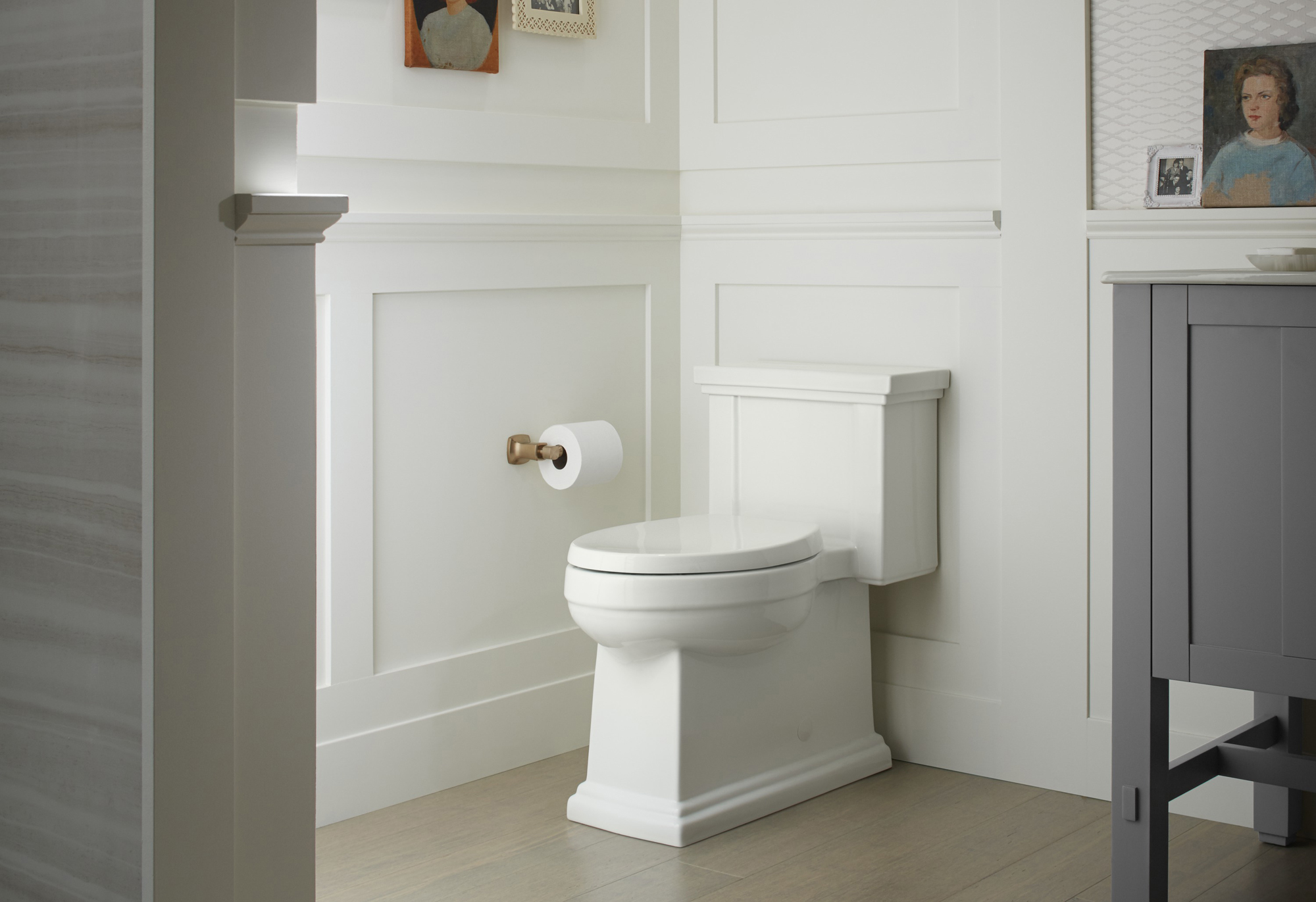 Margaux® toilet tissue holder     Tresham® toilet     A one-piece toilet with skirted trapway delivers a streamlined look and makes cleaning your toilet easy.