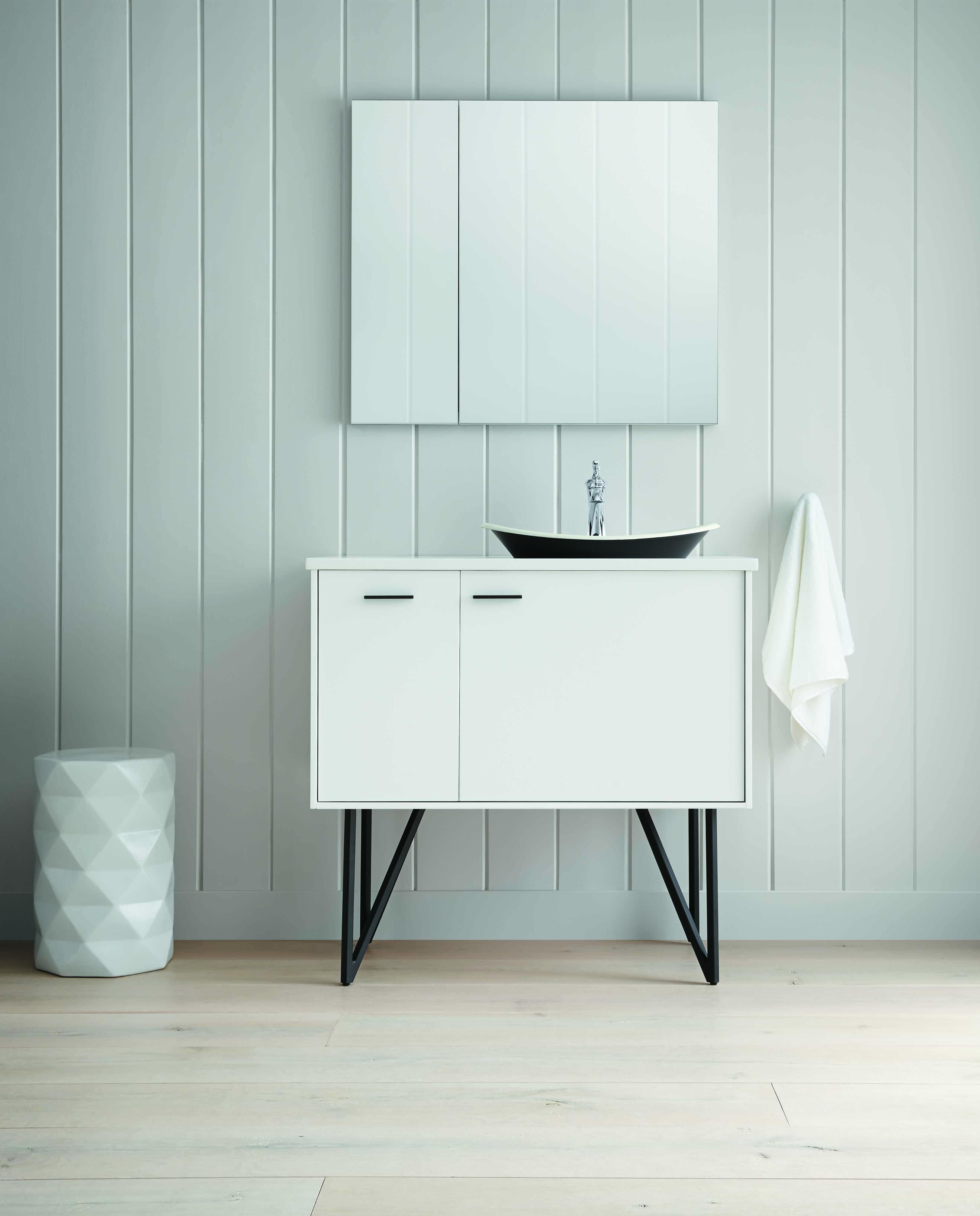 Jacquard® Vanity     Briolette™ Sink     Ornate hardware on this vanity adds a sense of refined elegance to the bathroom's artistic design.