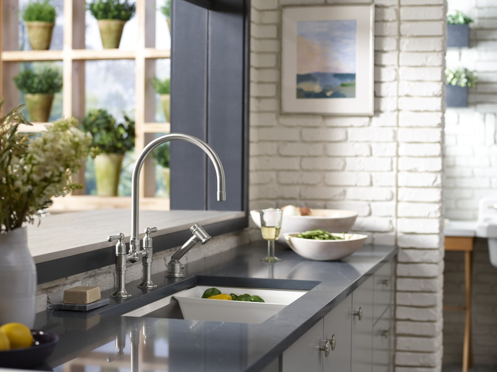 HiRise Kitchen Sink Faucet     Prolific Kitchen Sink     HiRise Independant Sidespray     Pairing elements of commonality throughout a space creates a sense of style and cohesiveness. Here, HiRise faucets are used throughout to bring us and the design together through form and function.